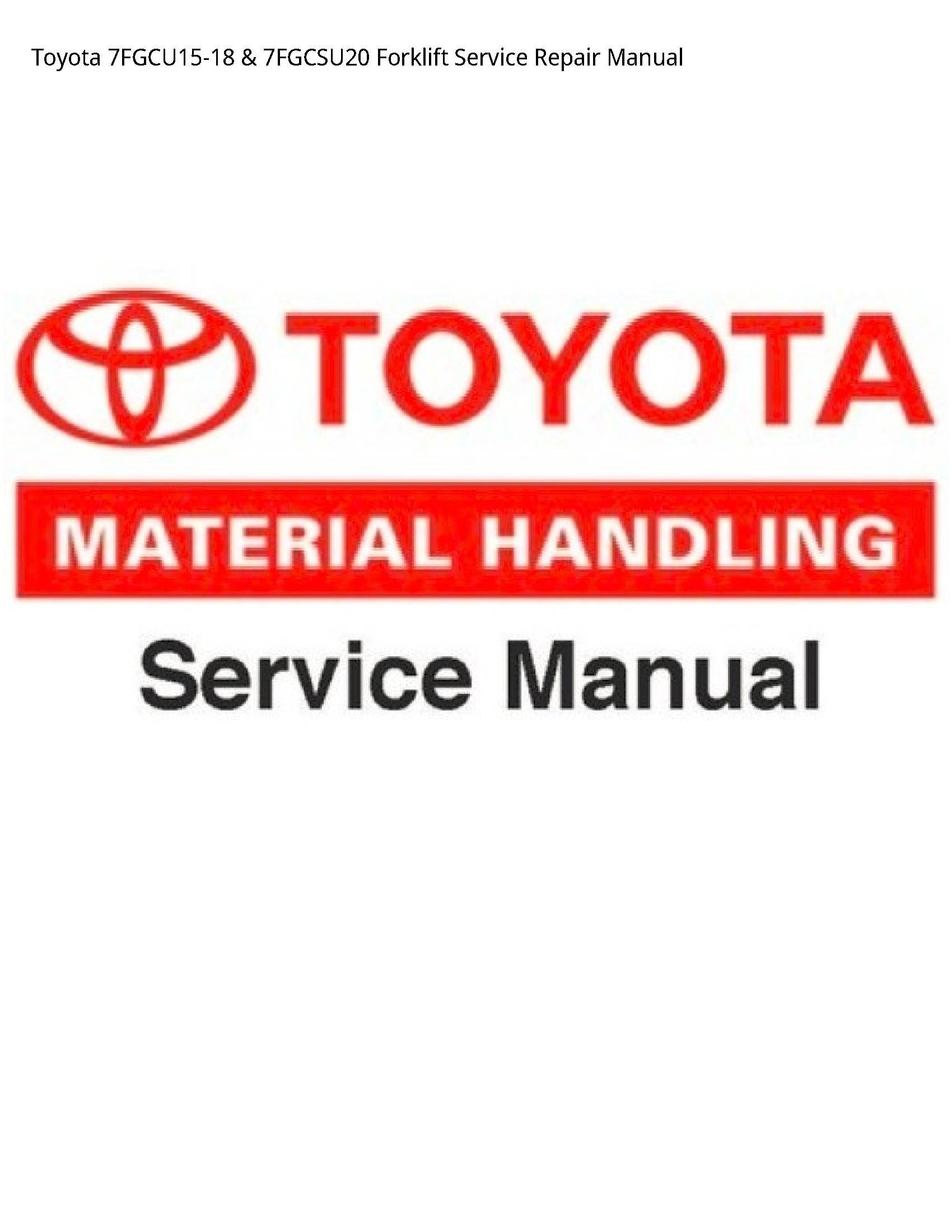 Toyota 7FGCU15-18 Forklift manual
