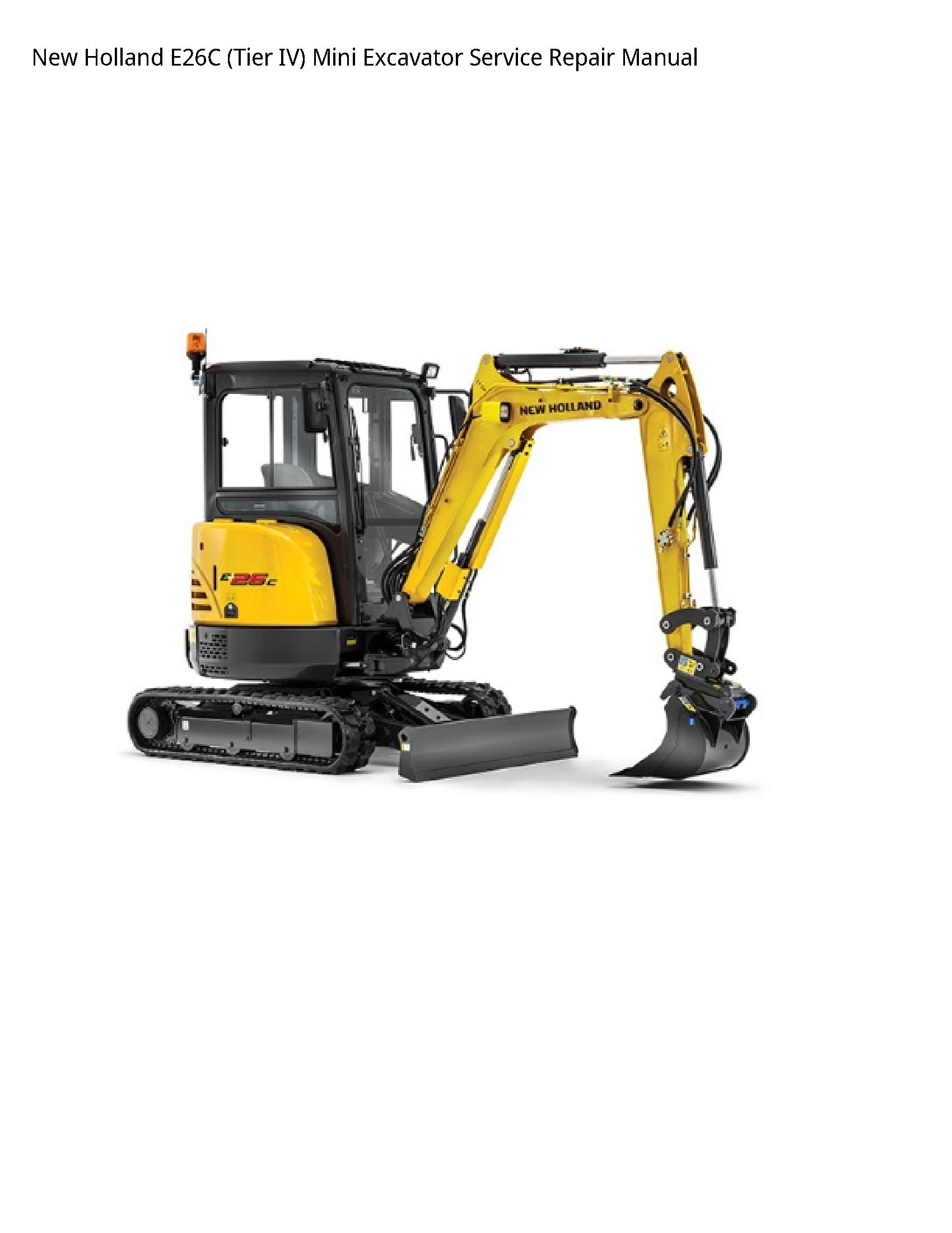 New Holland E26C (Tier IV) Mini Excavator manual