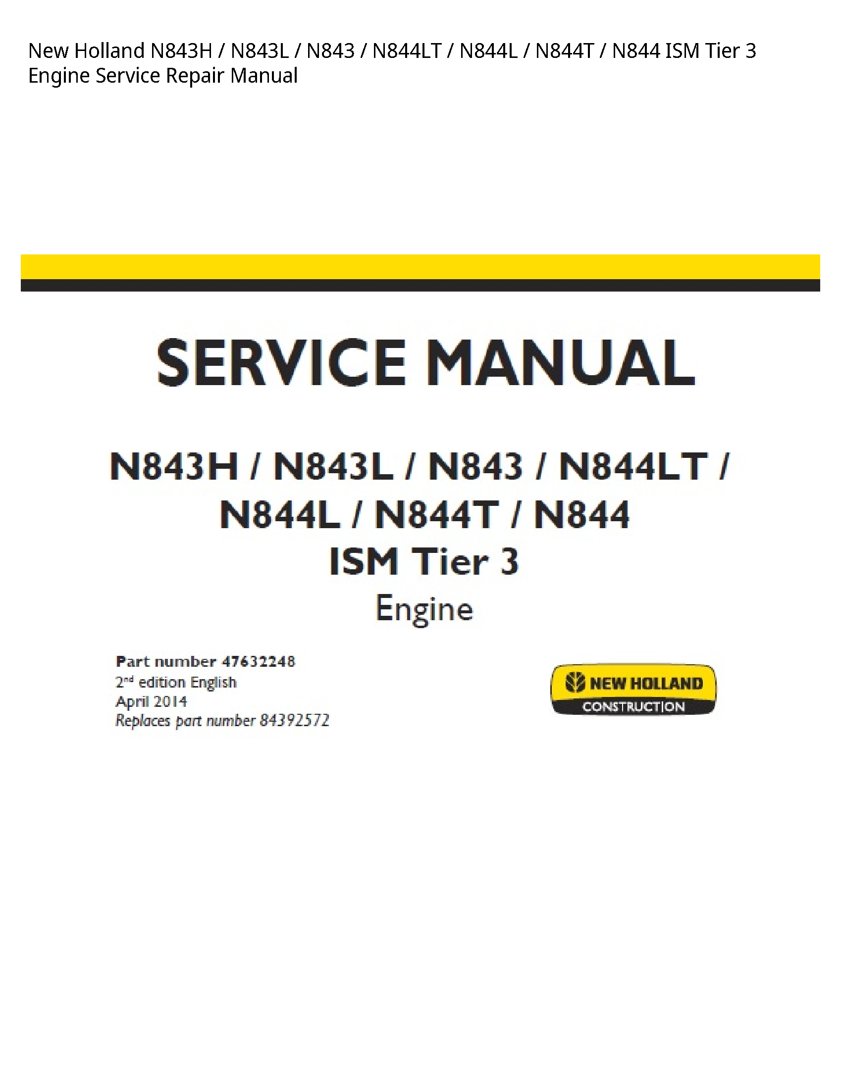 New Holland N843H ISM Tier Engine manual