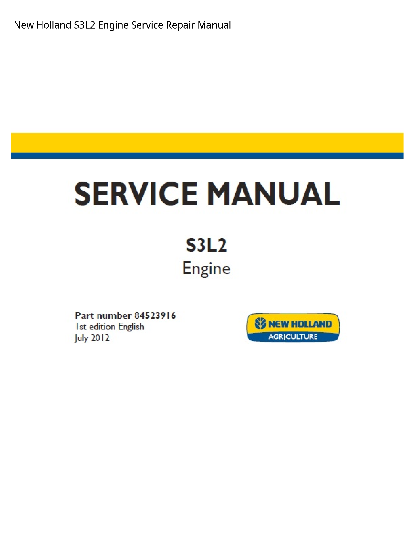 New Holland S3L2 Engine manual