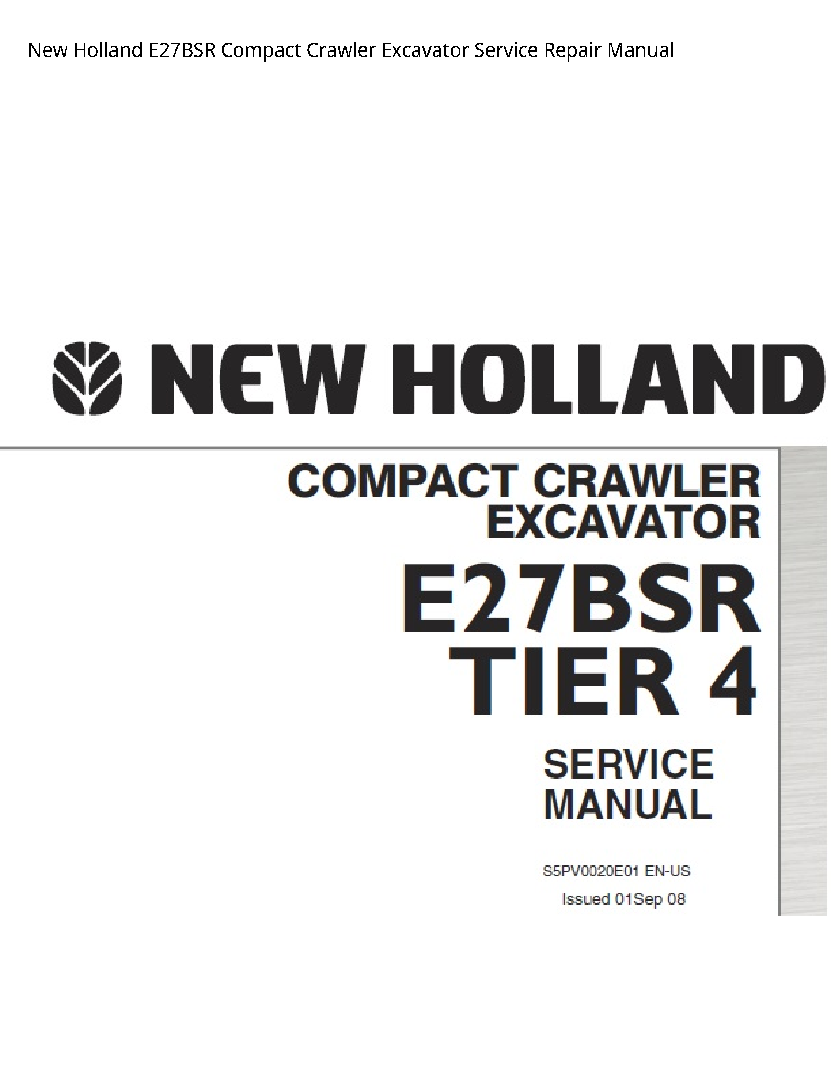 New Holland E27BSR Compact Crawler Excavator manual