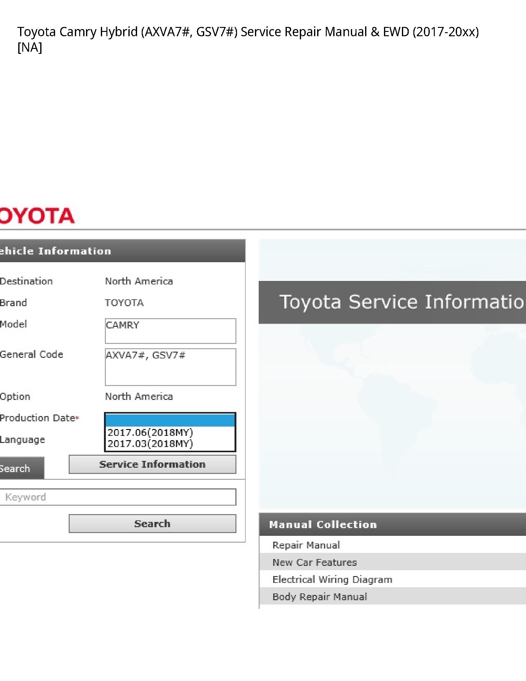 Toyota (AXVA7# Camry Hybrid manual