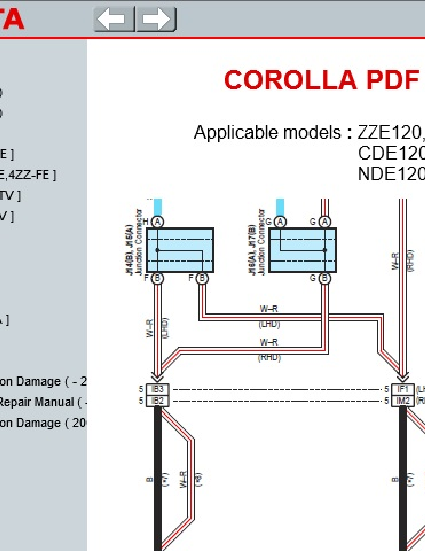 Toyota (ZZE120 COROLLA series manual