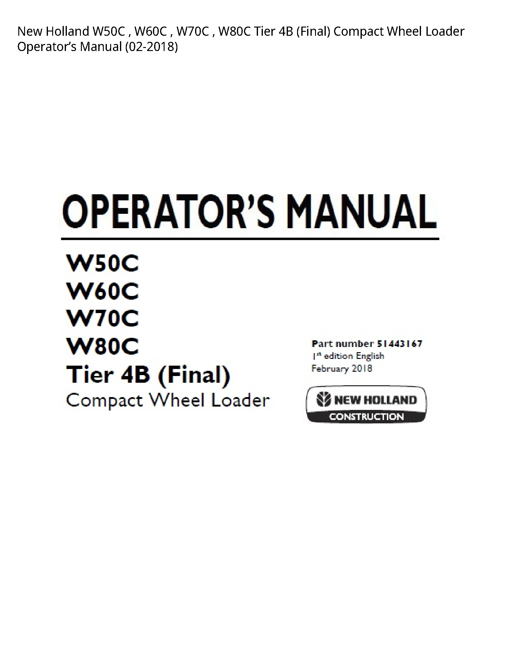 New Holland W50C Tier (Final) Compact Wheel Loader Operator's manual