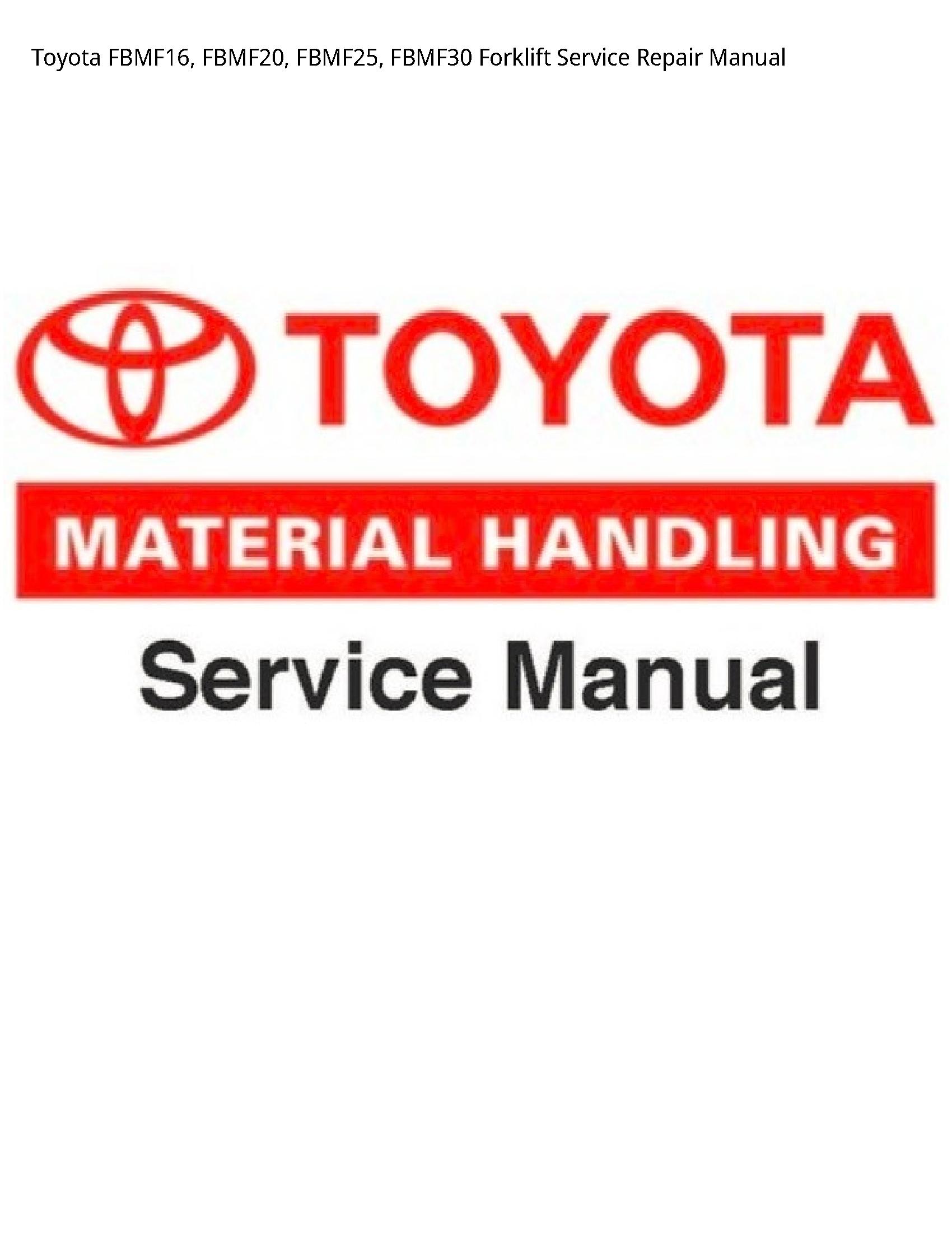 Toyota FBMF16 Forklift manual