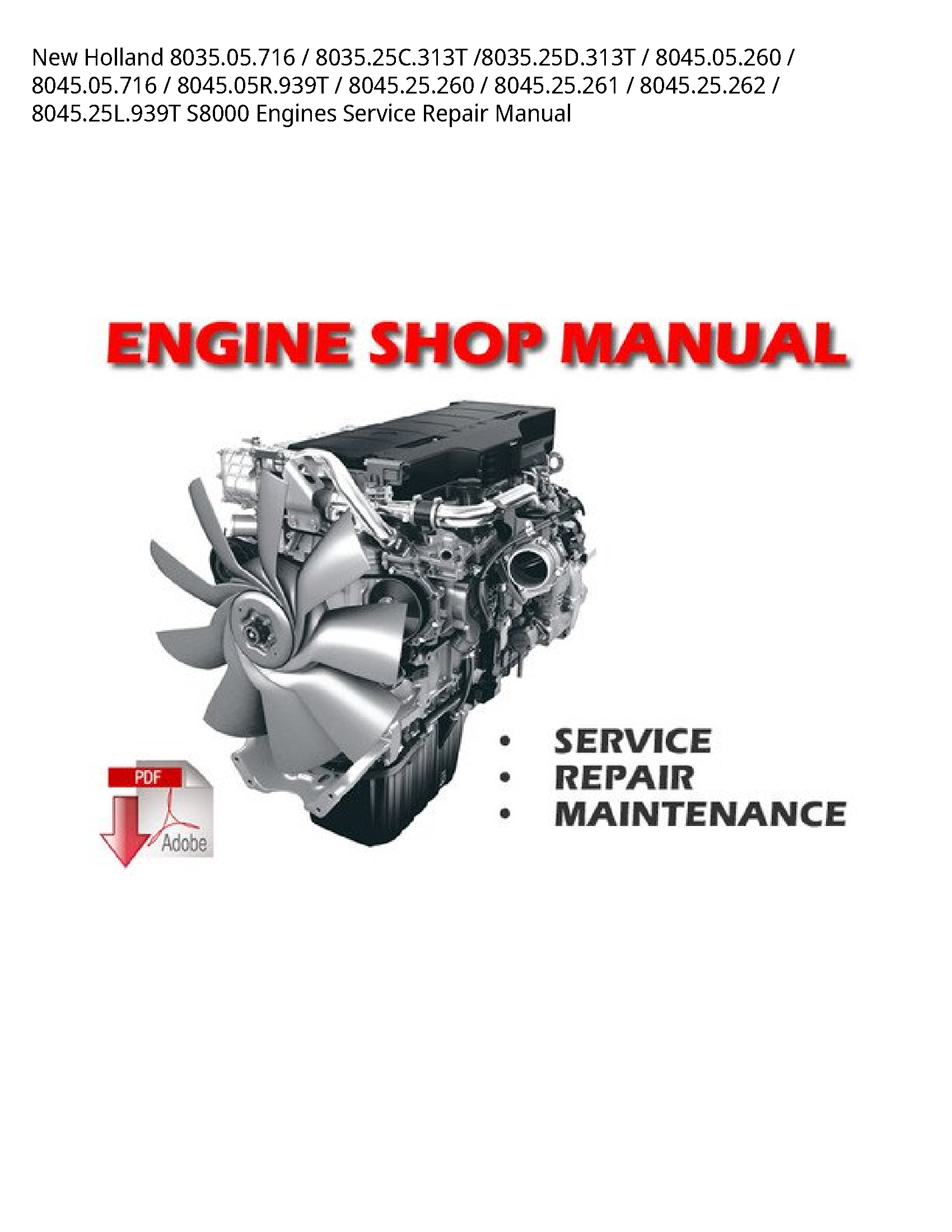 New Holland 8035.05.716 Engines manual