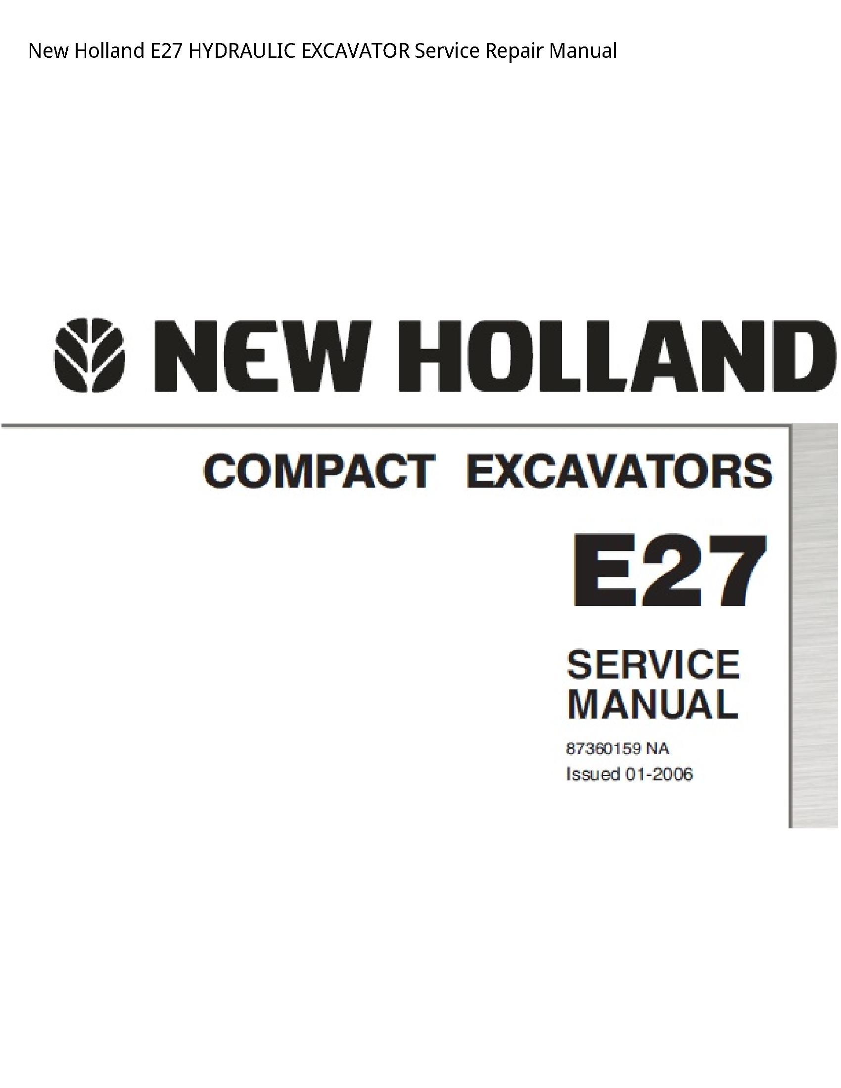 New Holland E27 HYDRAULIC EXCAVATOR manual