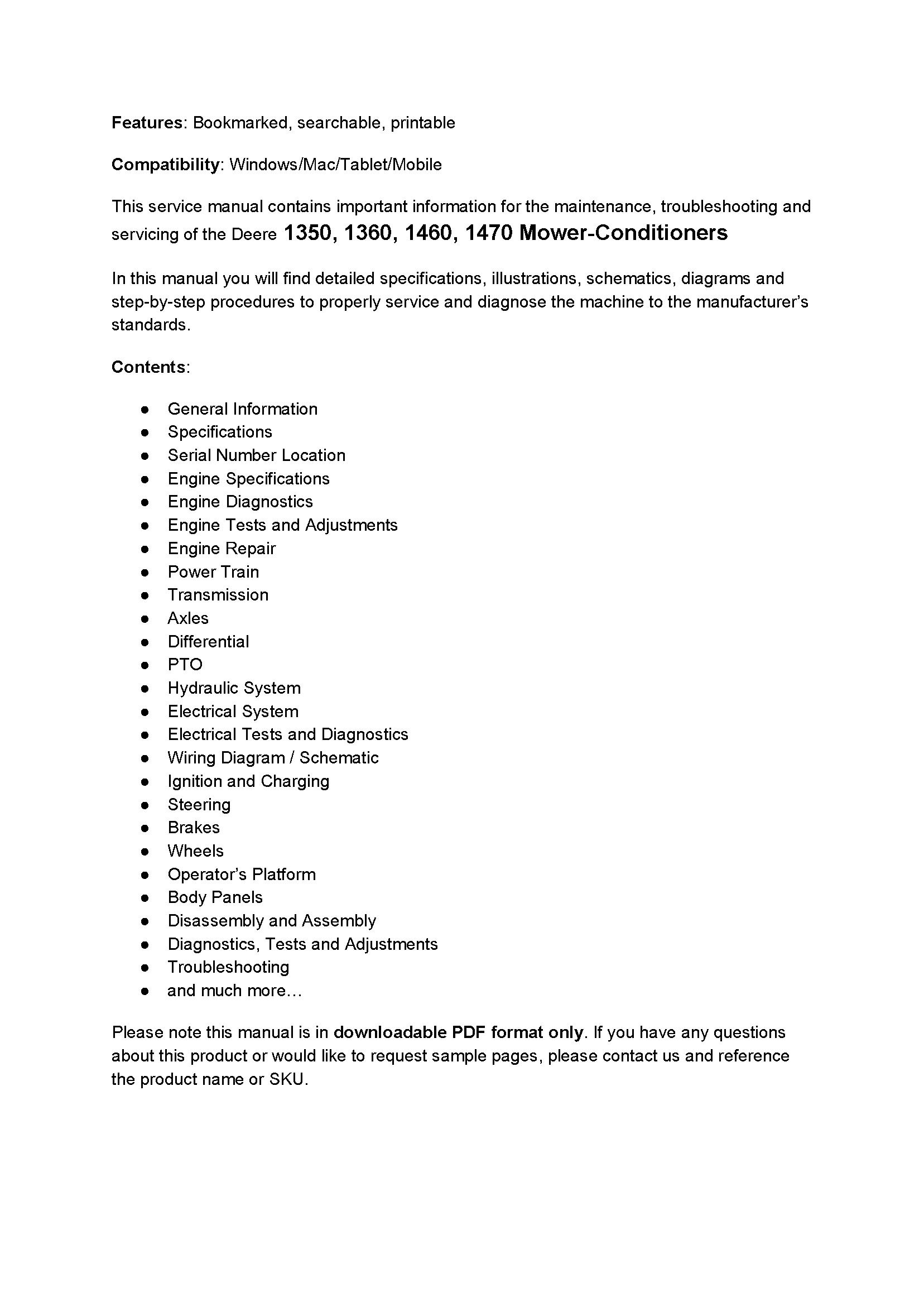 John Deere 1360 manual