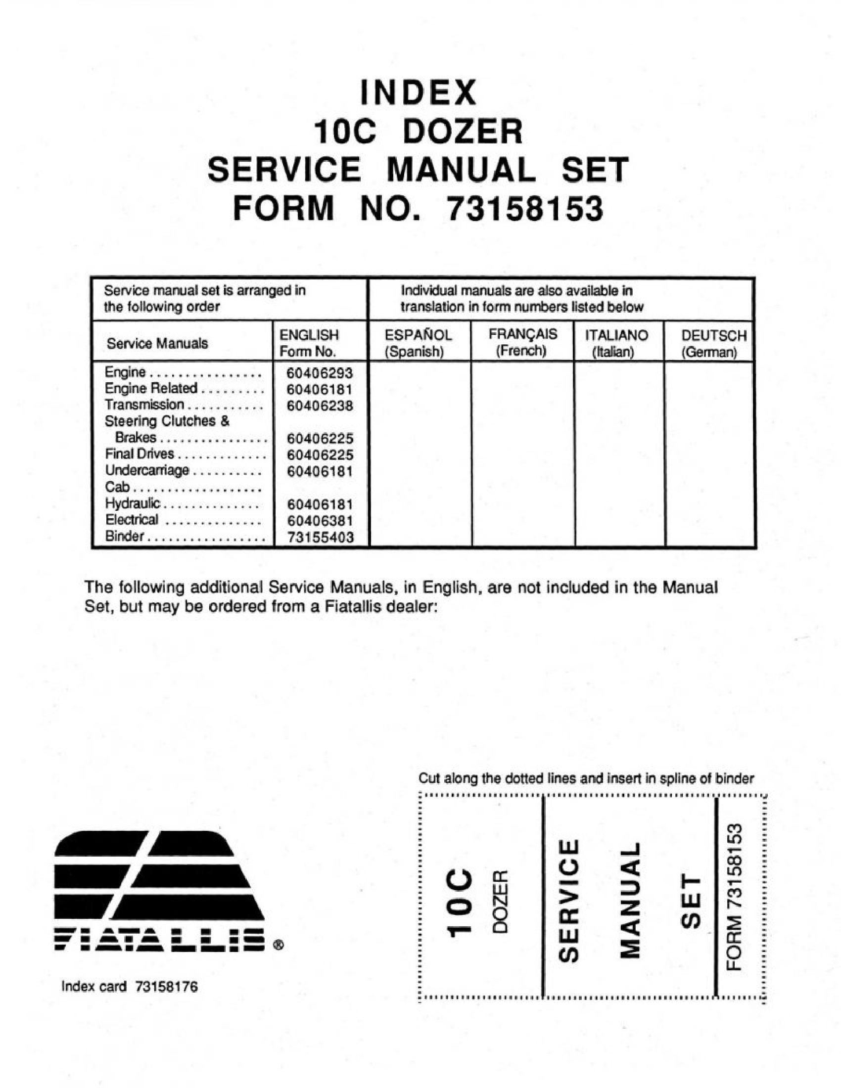 Fiat-Allis 10C Dozer manual