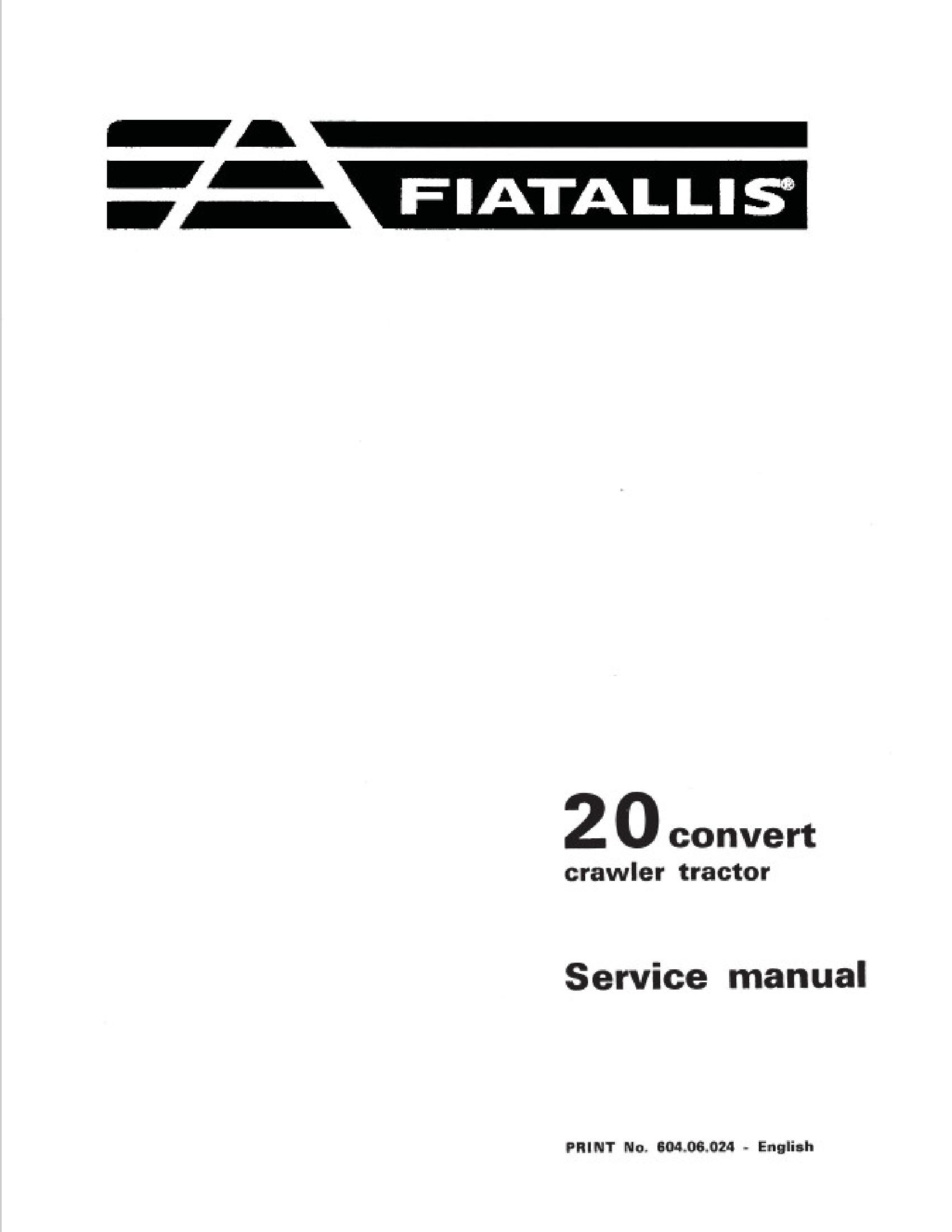 Fiat-Allis 20 Convert Crawler Tractor manual