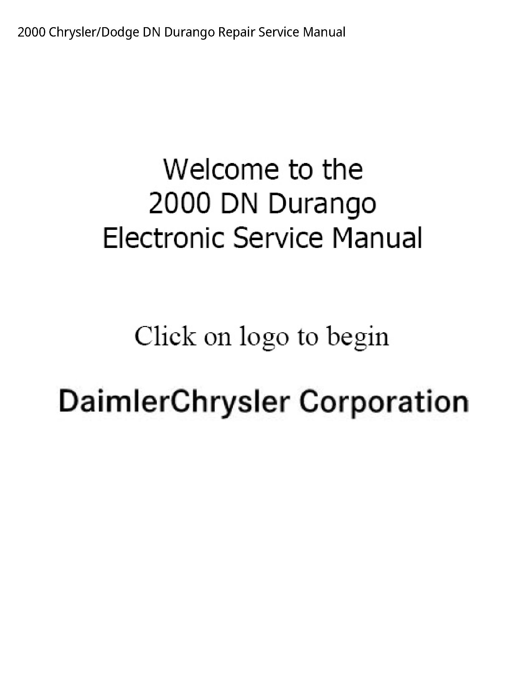 Chrysler /Dodge DN Durango Repair Service manual