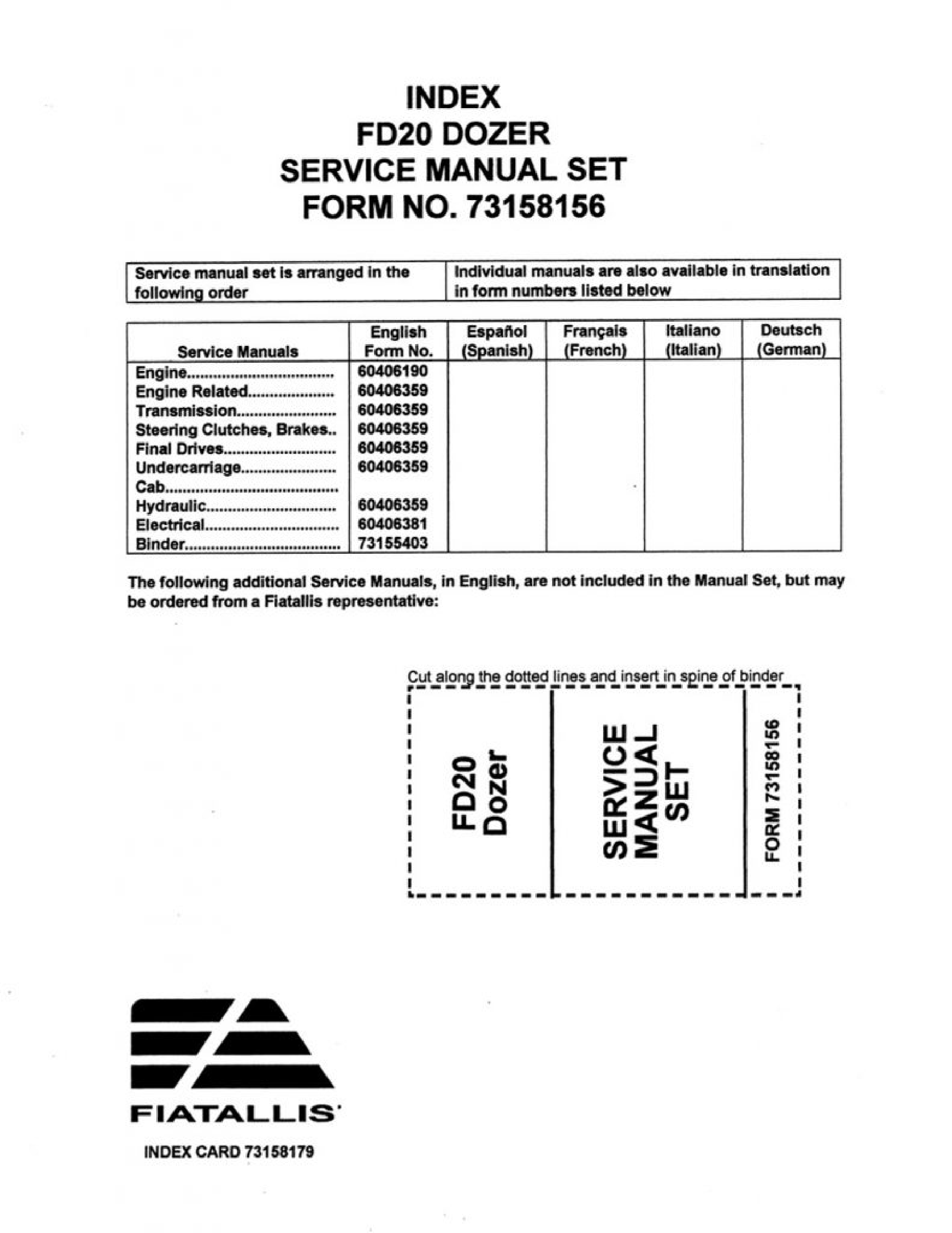 Fiat-Allis FD20 Dozer manual