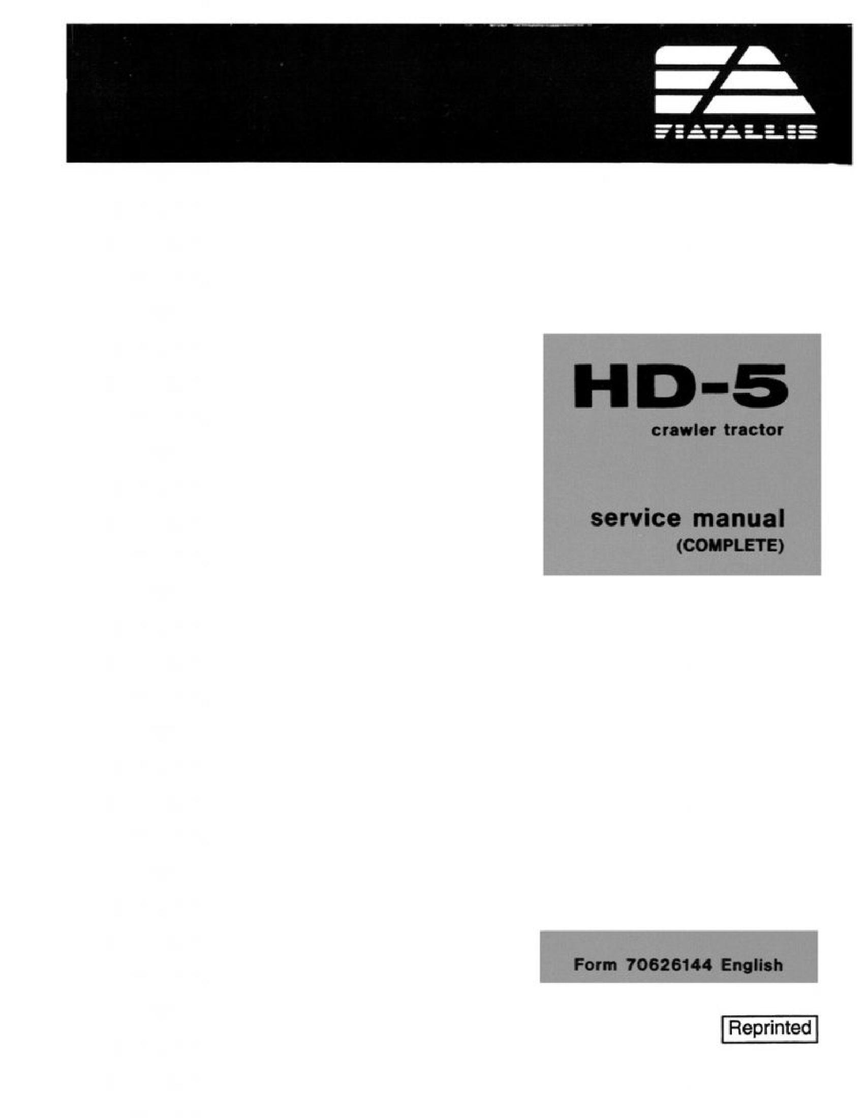Fiat-Allis HD-5 Crawler Tractor manual