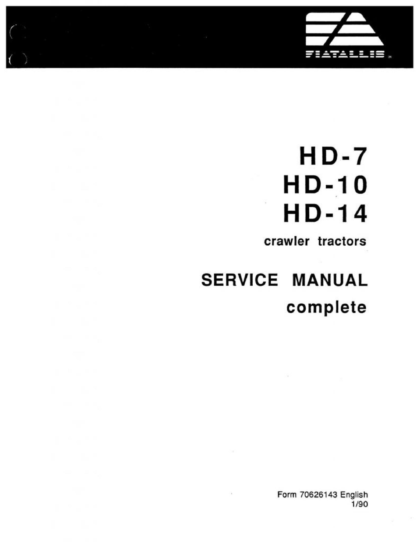 Fiat-Allis HD-7 Crawler Tractors manual