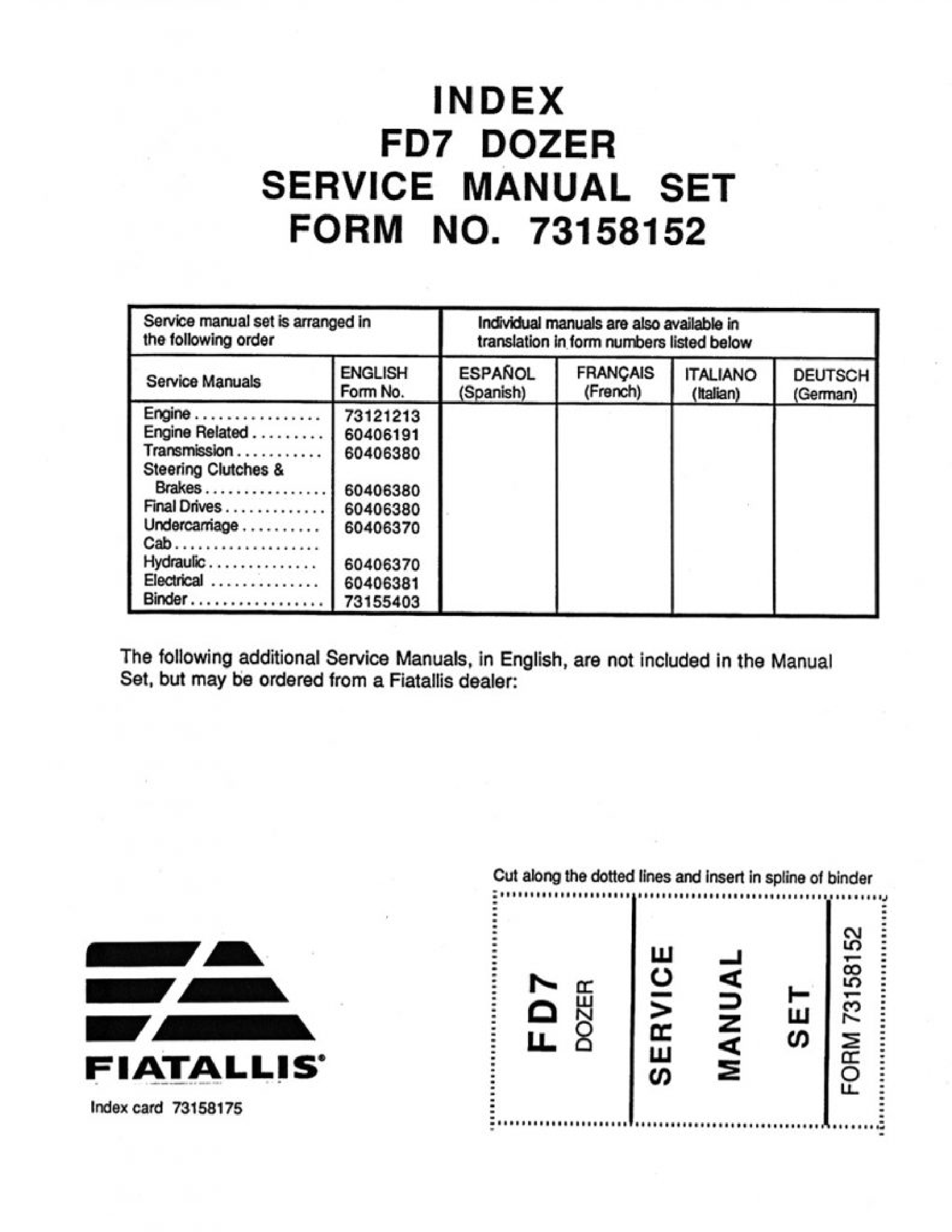 Fiat-Allis FD7 Dozer manual