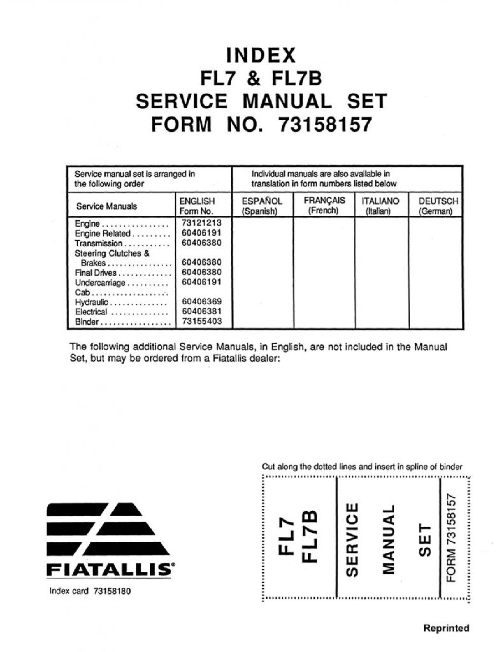 Fiat-Allis FL7 Dozer manual