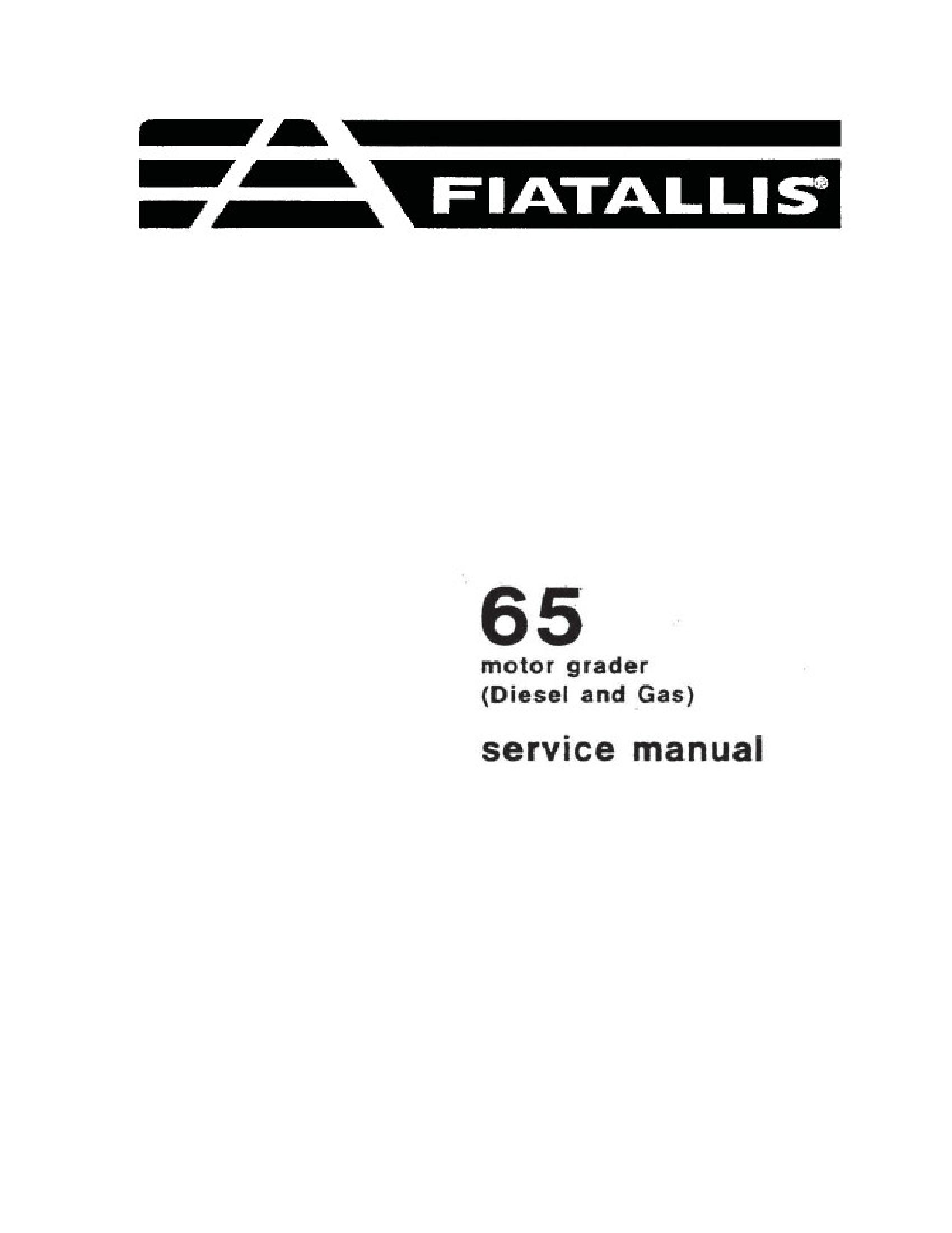 Fiat-Allis 65 Motor Grader manual