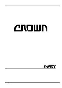 Crown WP2000S service manual