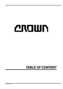 Crown SC3000 manual