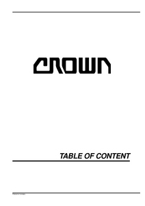 Crown WP2000 manual