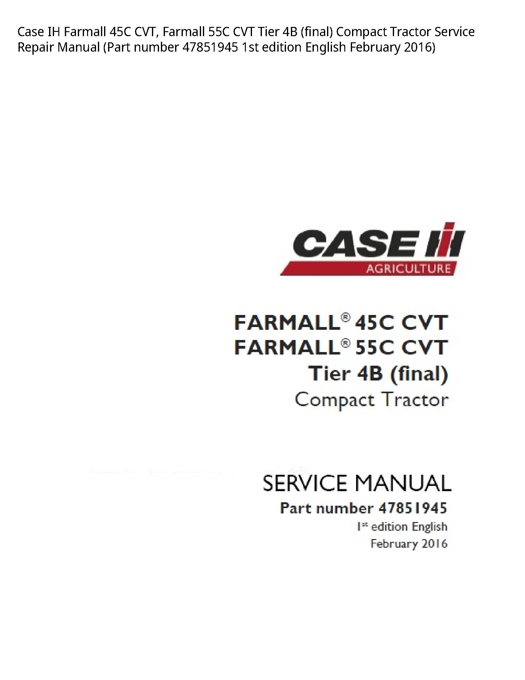 Case/Case IH 45C IH Farmall CVT manual