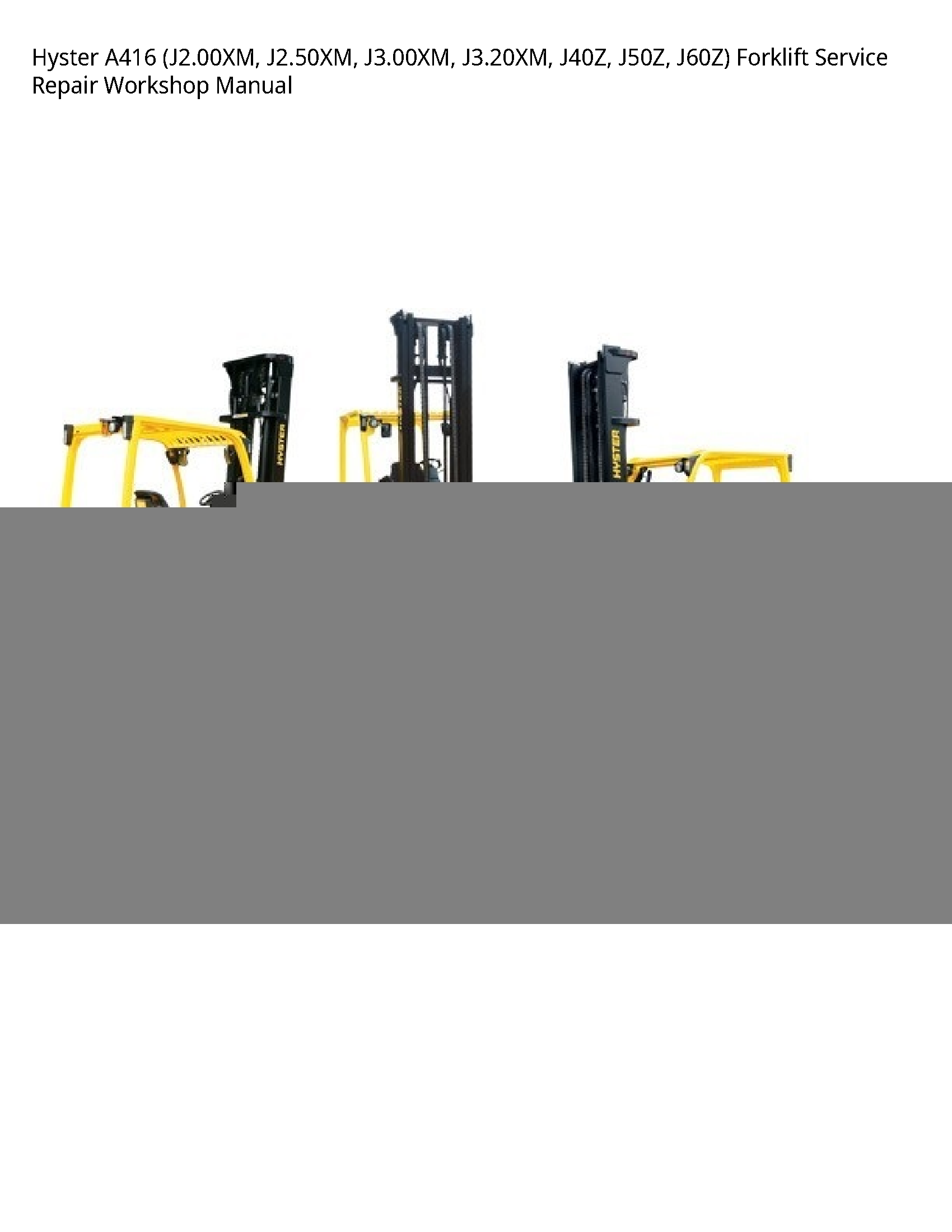 Hyster A416 Forklift manual