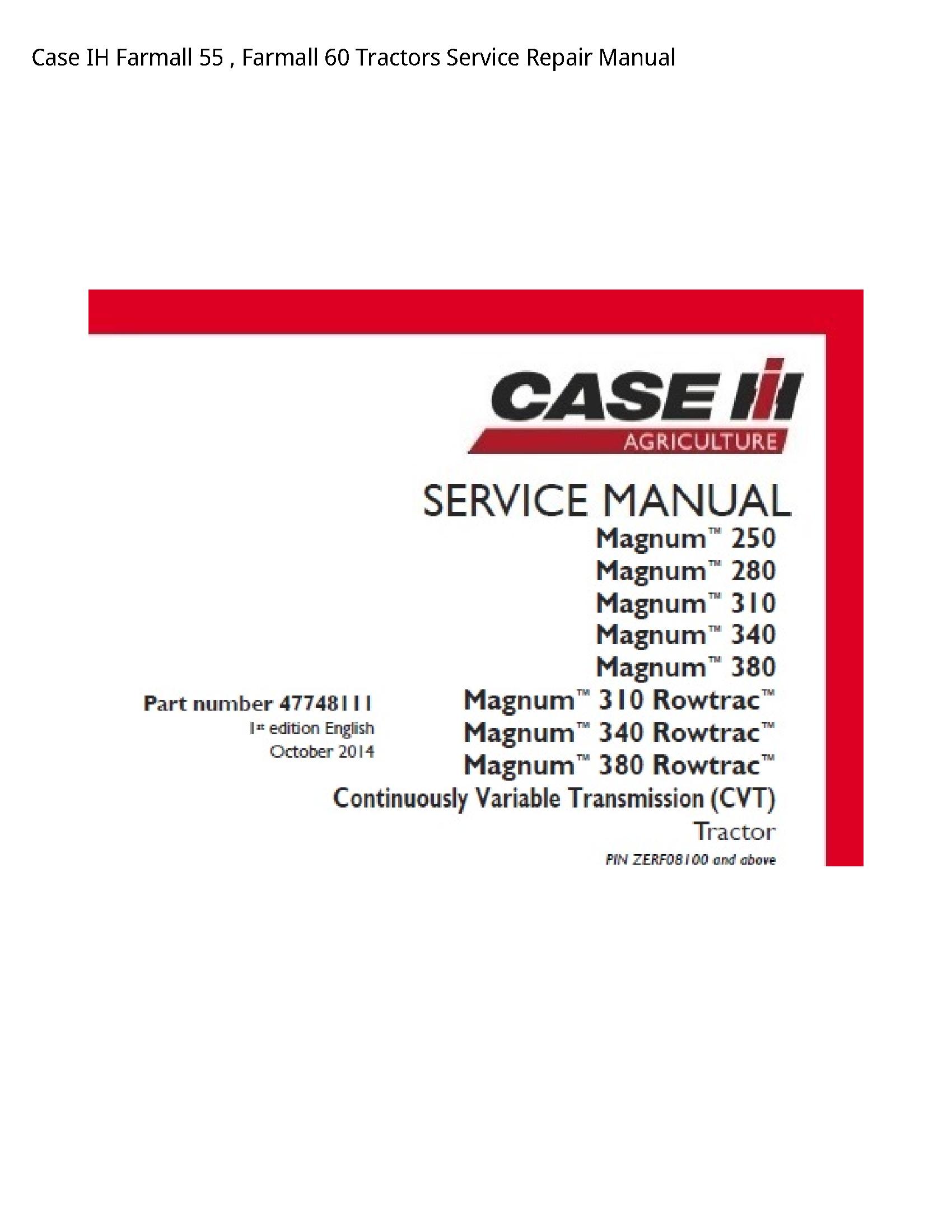 Case/Case IH 55 IH Farmall Farmall Tractors manual