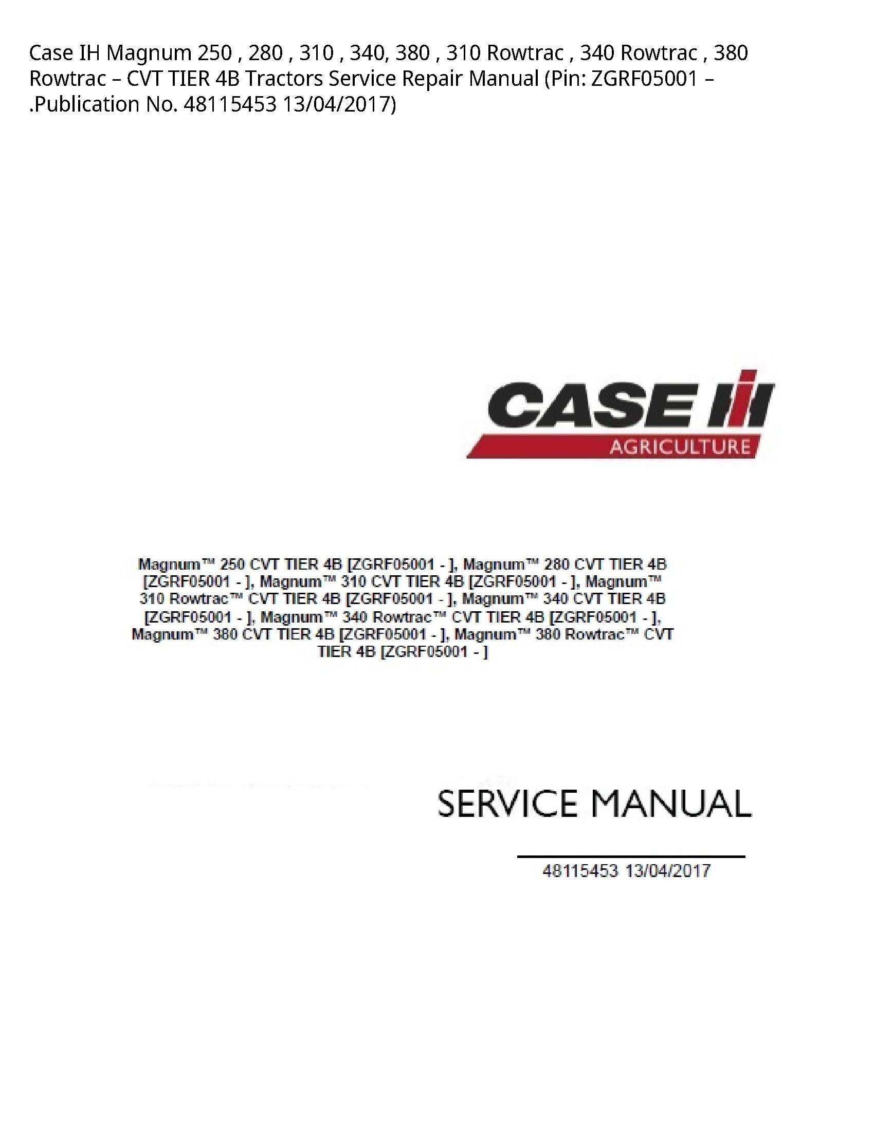 Case/Case IH 250 IH Magnum Rowtrac Rowtrac Rowtrac CVT TIER Tractors manual