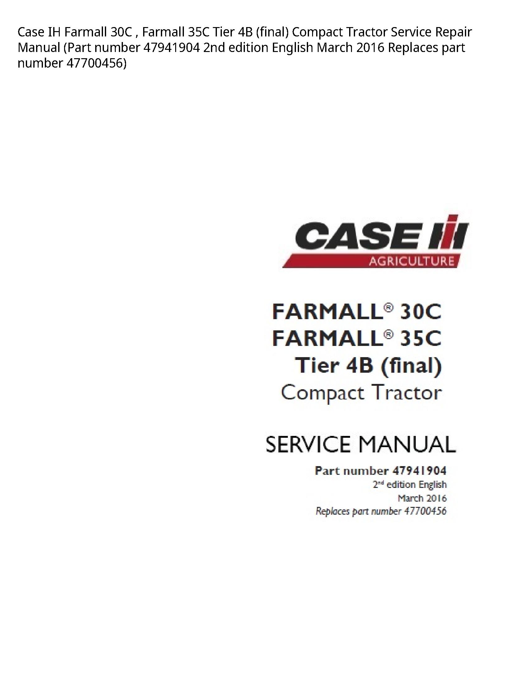 Case/Case IH 30C IH Farmall Farmall Tier (final) Compact Tractor manual