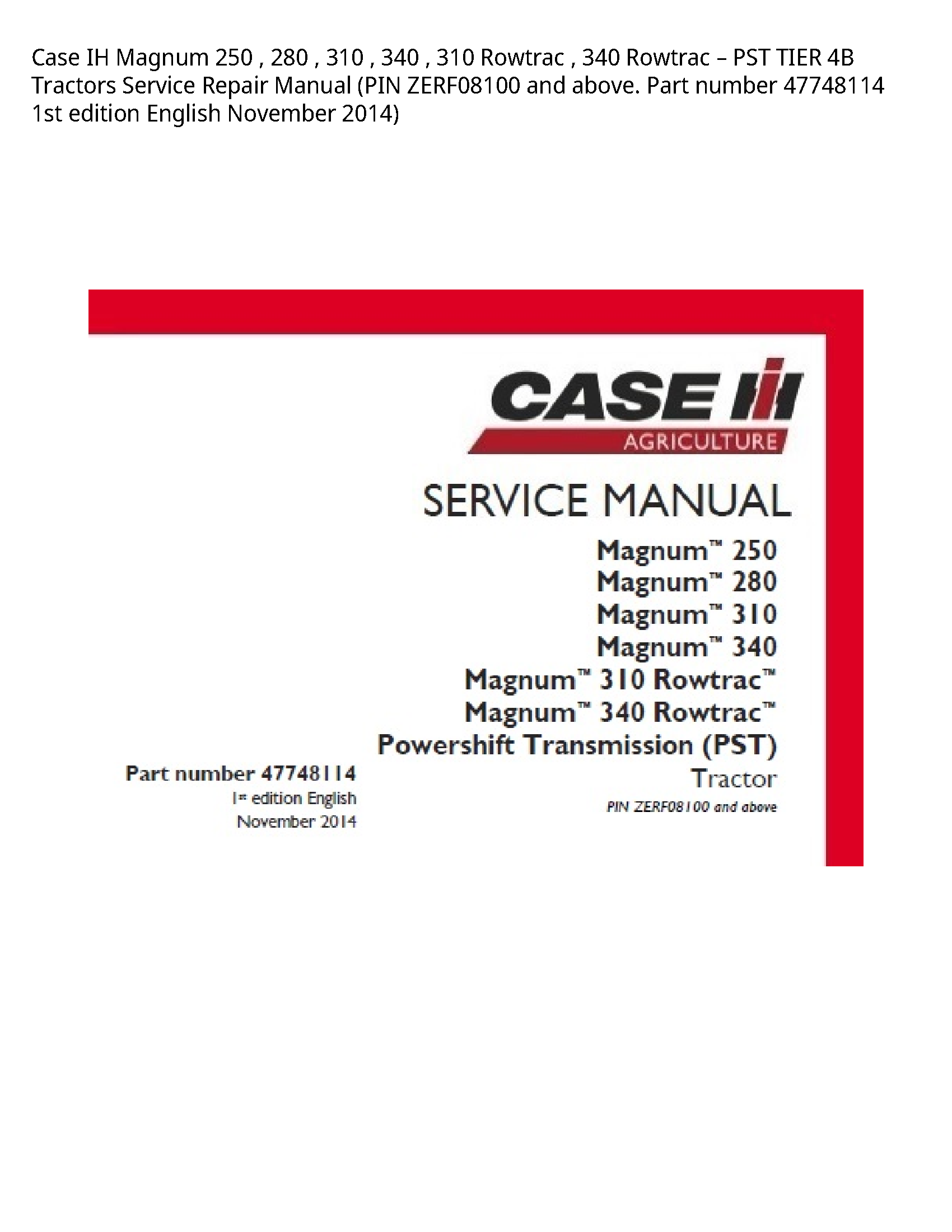 Case/Case IH 250 IH Magnum Rowtrac Rowtrac PST TIER Tractors manual