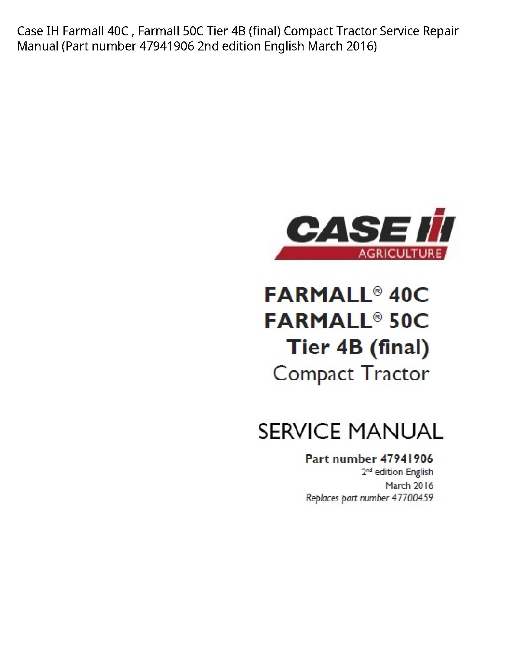 Case/Case IH 40C IH Farmall Farmall Tier (final) Compact Tractor manual