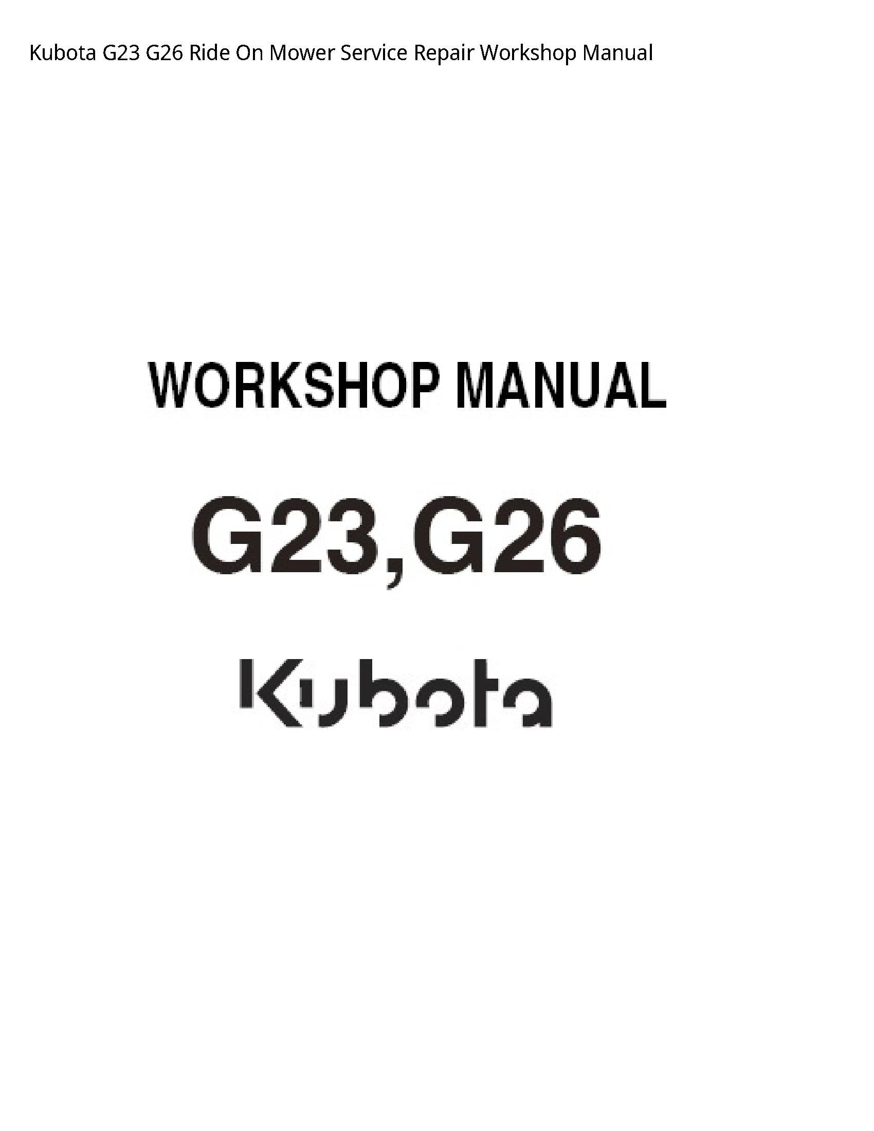 Kubota G23 Ride On Mower manual