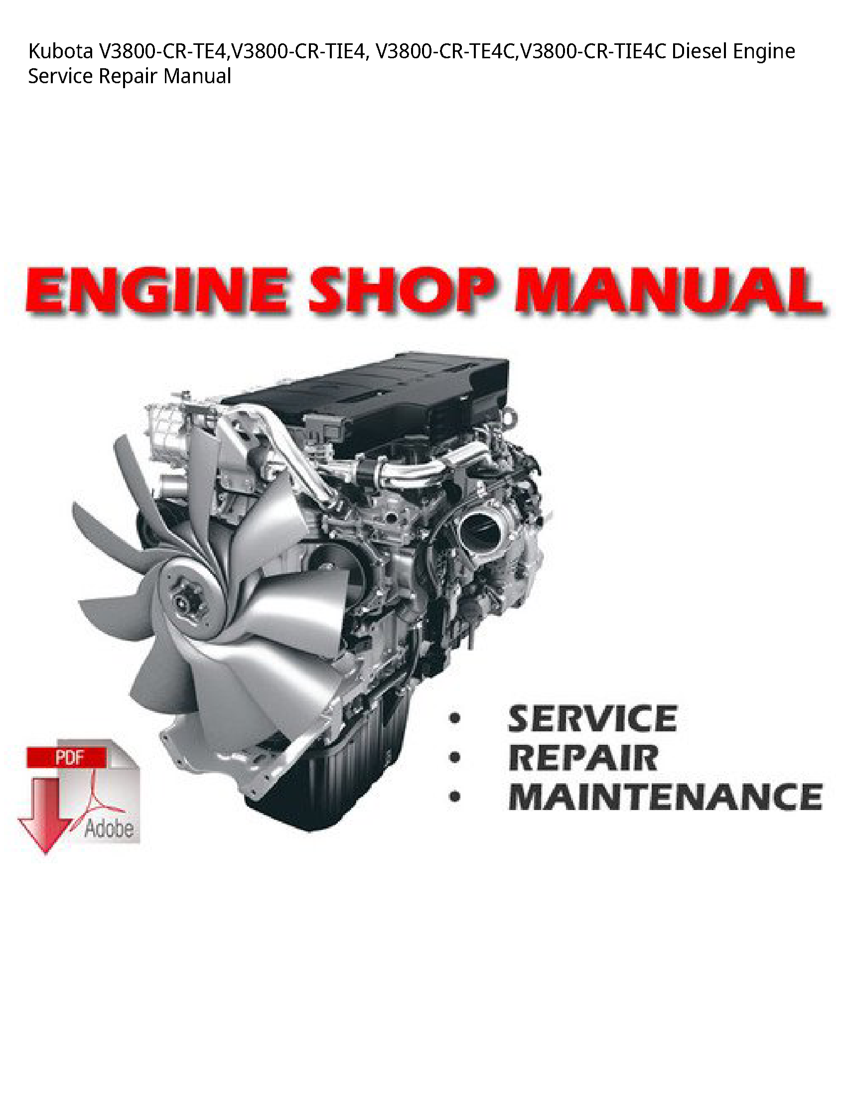 Kubota V3800-CR-TE4 Diesel Engine manual