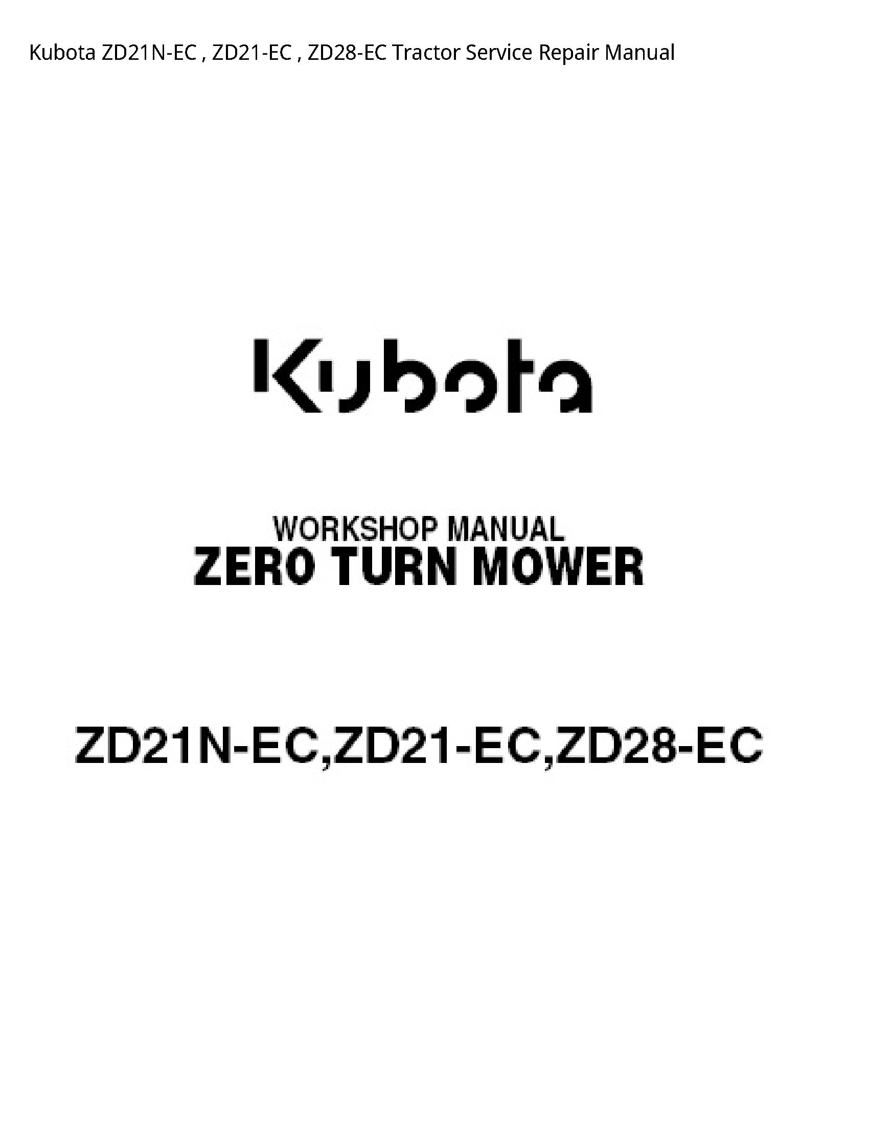 Kubota ZD21N-EC Tractor manual