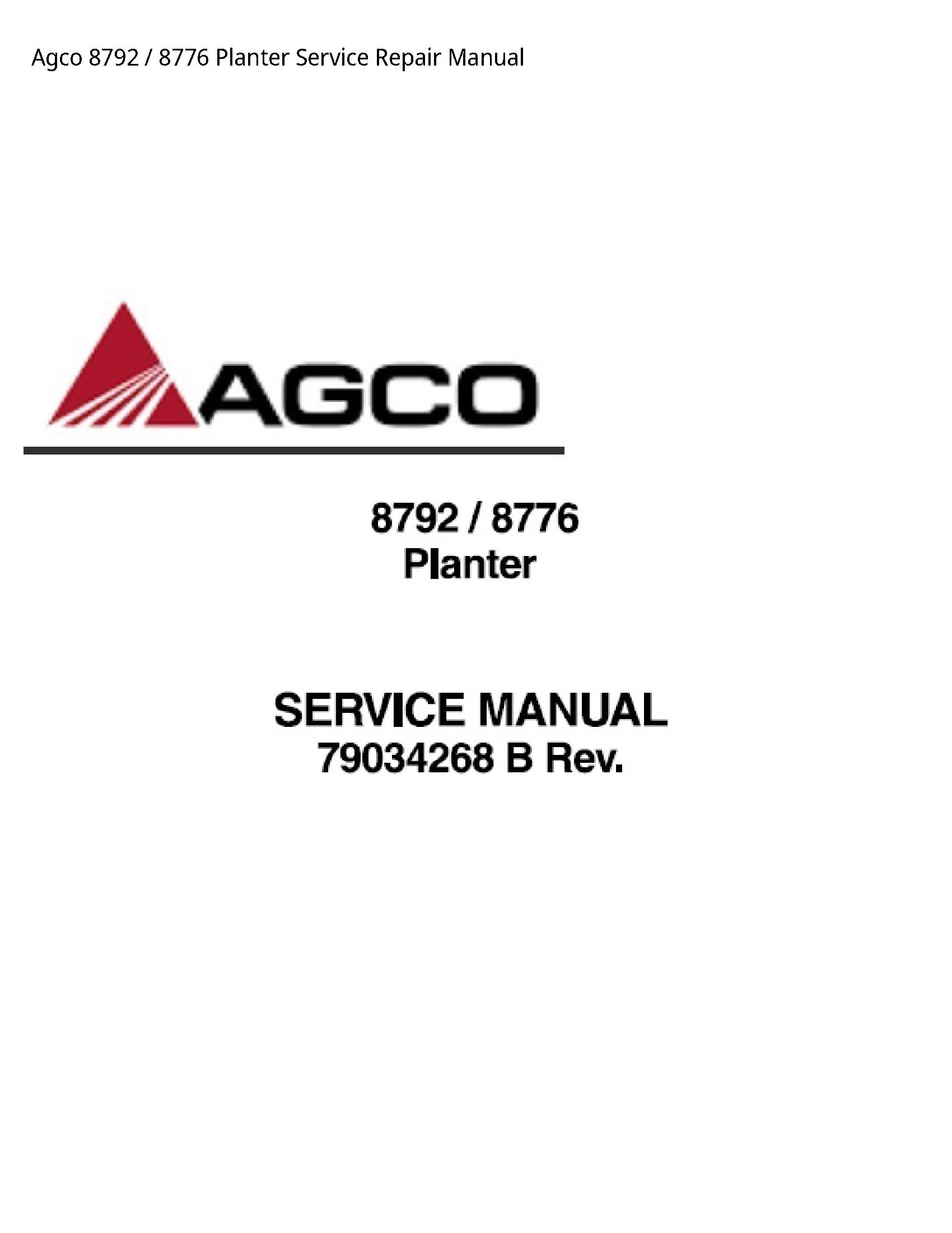 AGCO 8792 Planter manual
