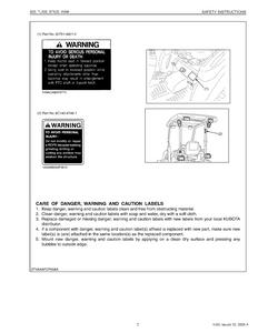 Kubota BT820 WSM Front Backhoe service manual