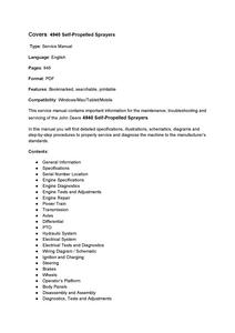 John Deere 4940 Self-Propelled Sprayers manual