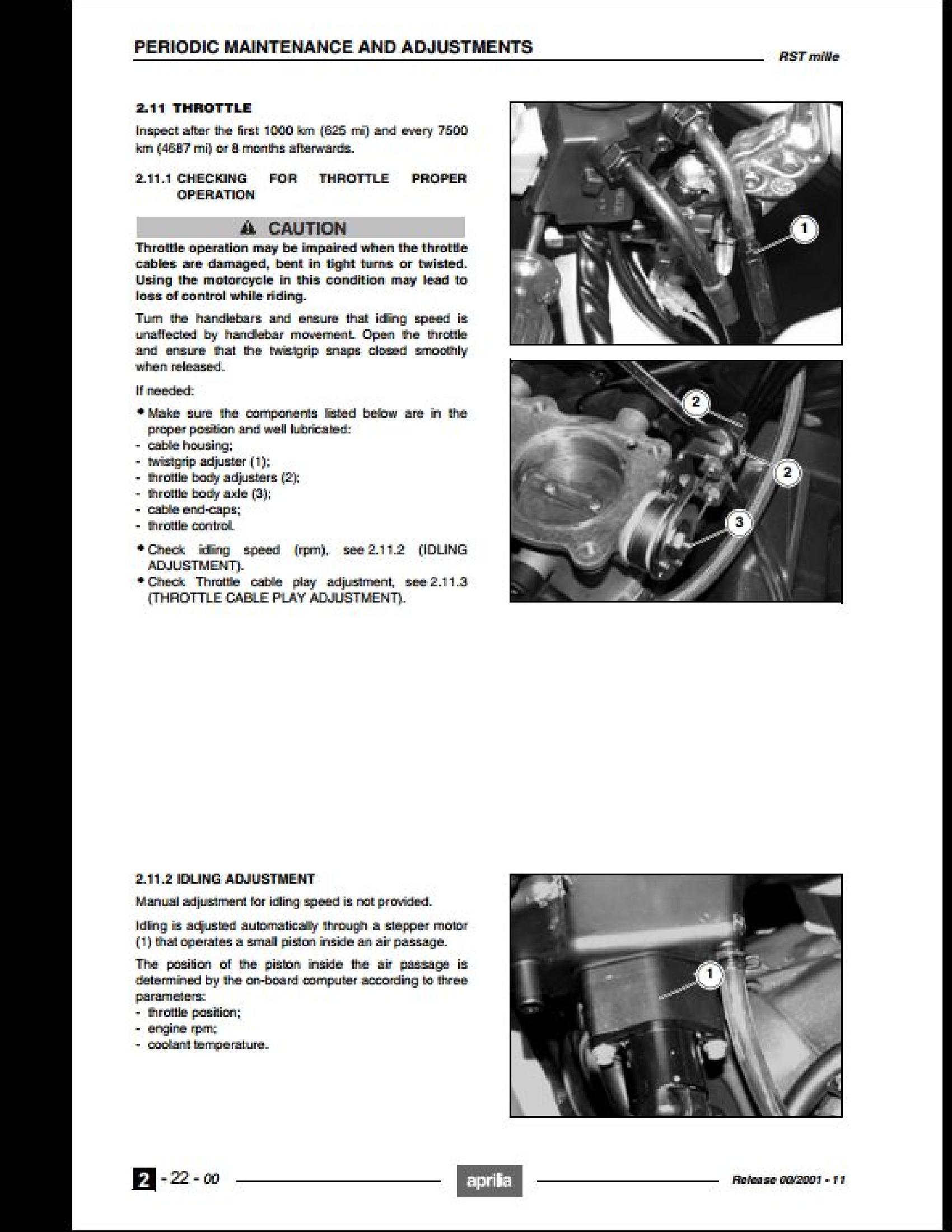 Aprilia RST Mille Futura Motorcycle manual