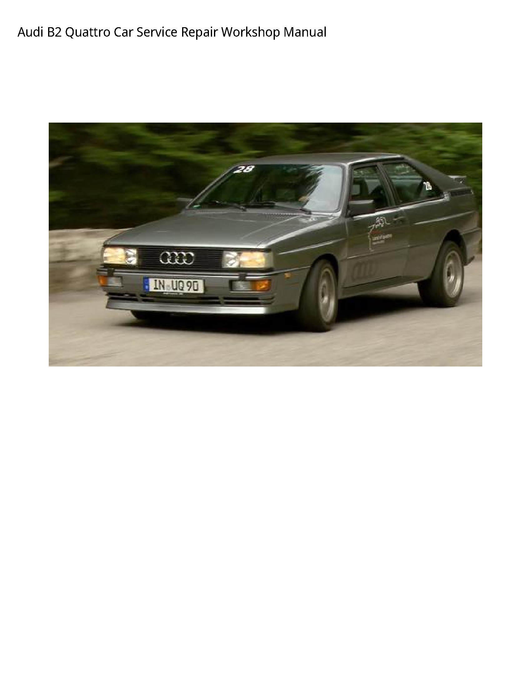 Audi B2 Quattro Car manual