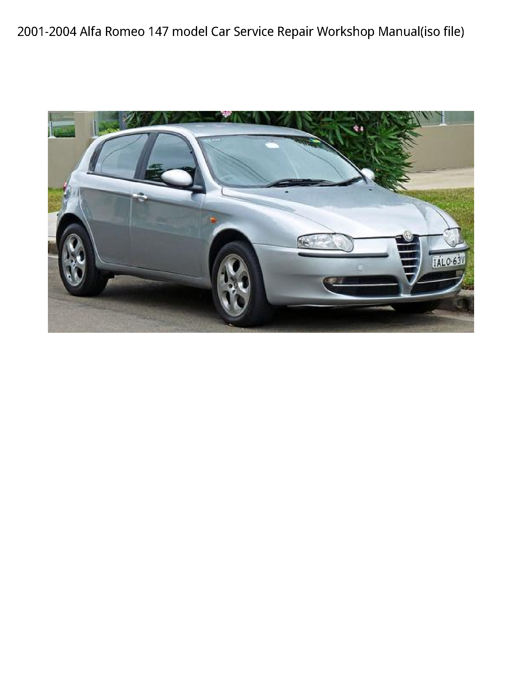 Alfa Romeo 147 model Car manual