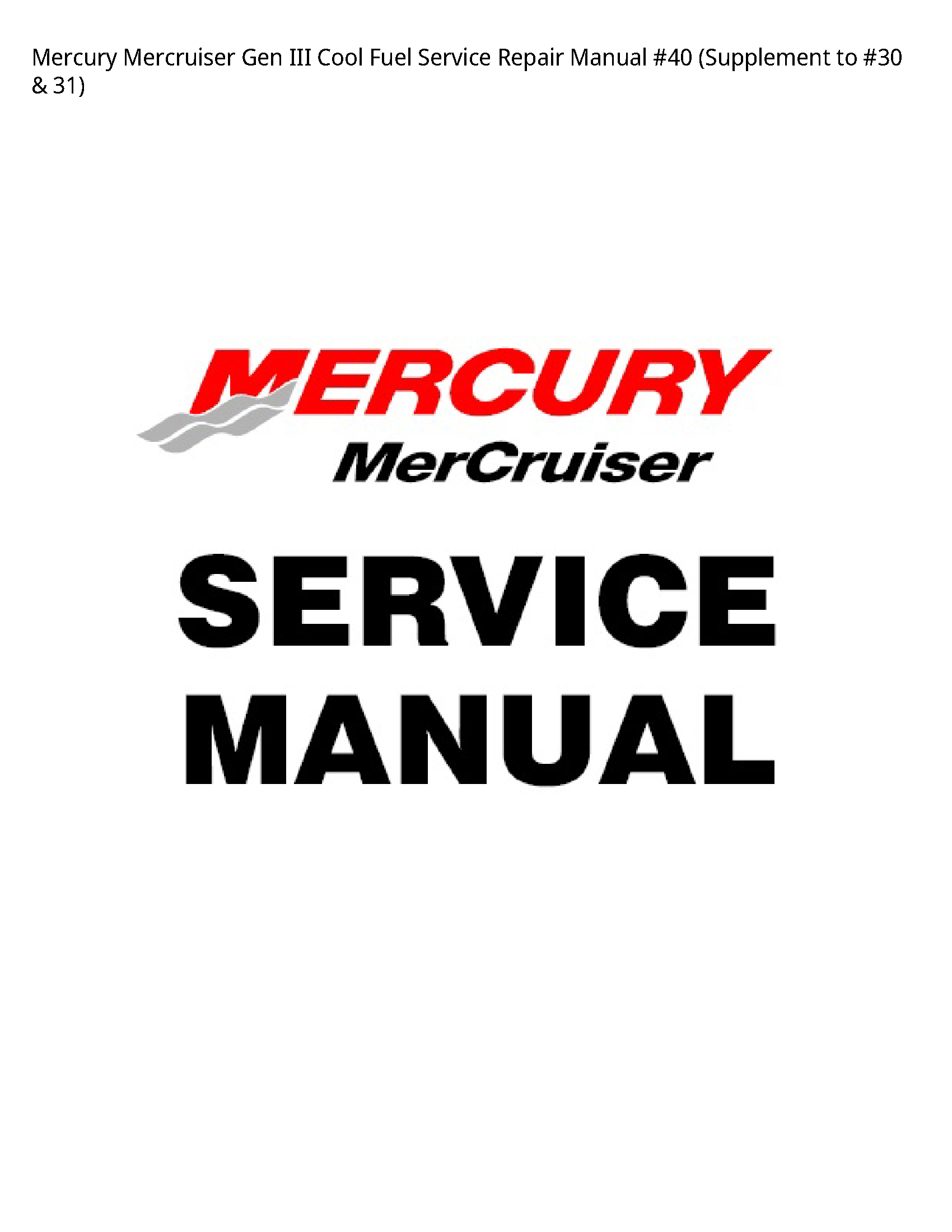 Mercury Mercruiser Gen III Cool Fuel manual
