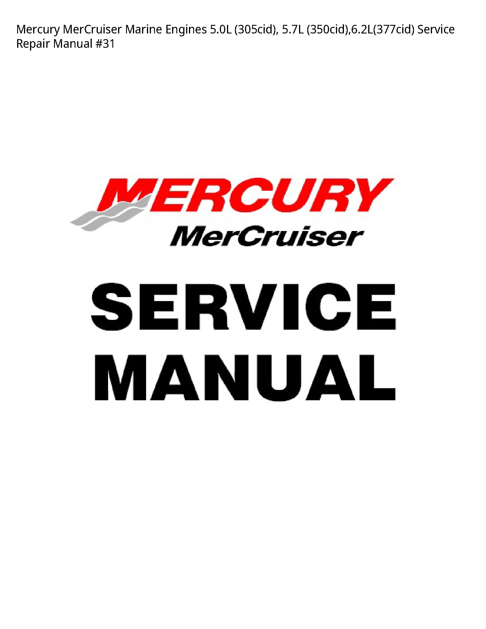 Mercury 5.0L MerCruiser Marine Engines manual