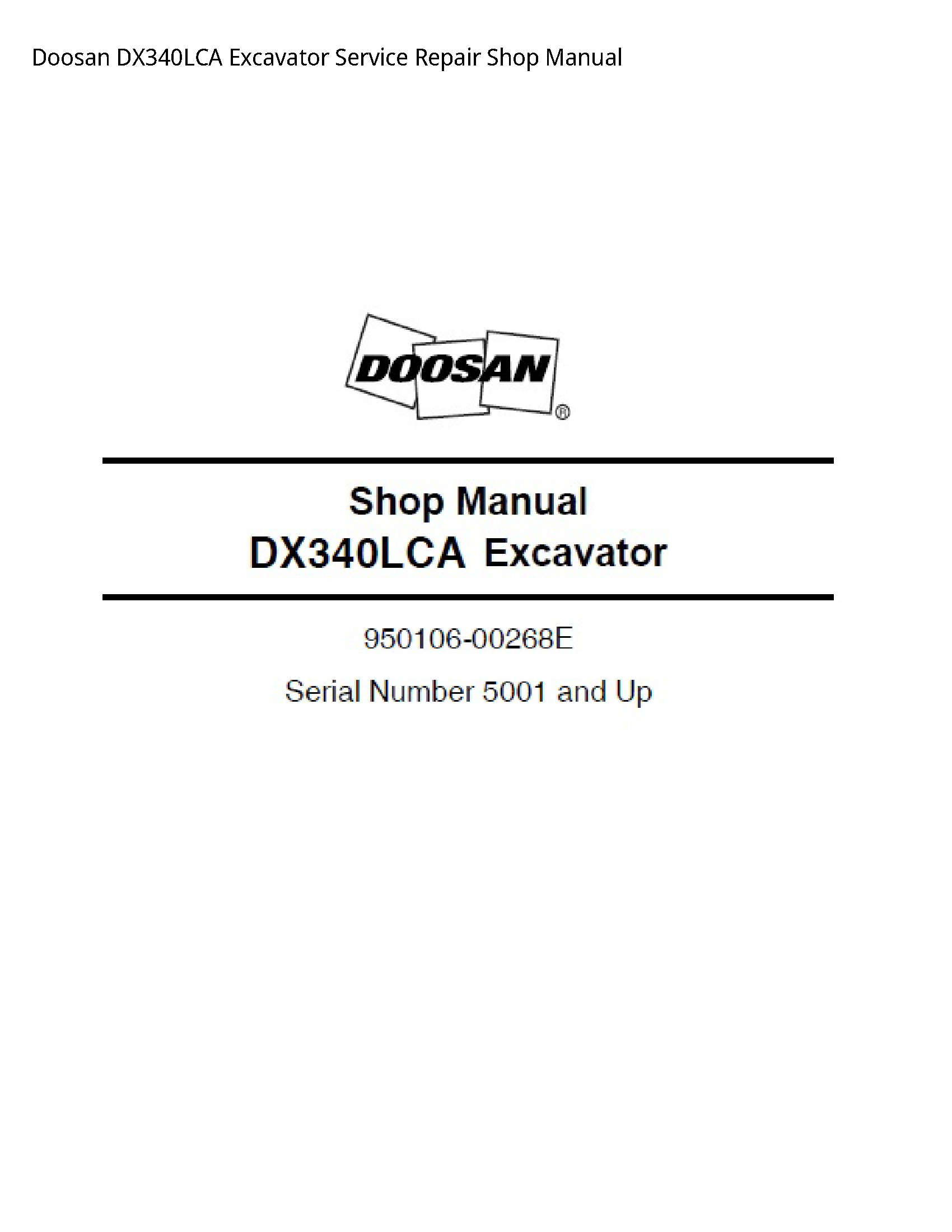 Doosan DX340LCA Excavator manual