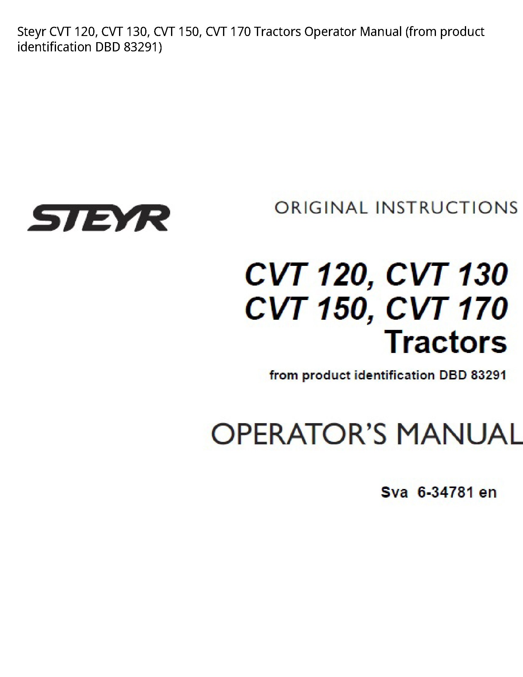 Steyr 120 CVT CVT CVT CVT Tractors Operator manual