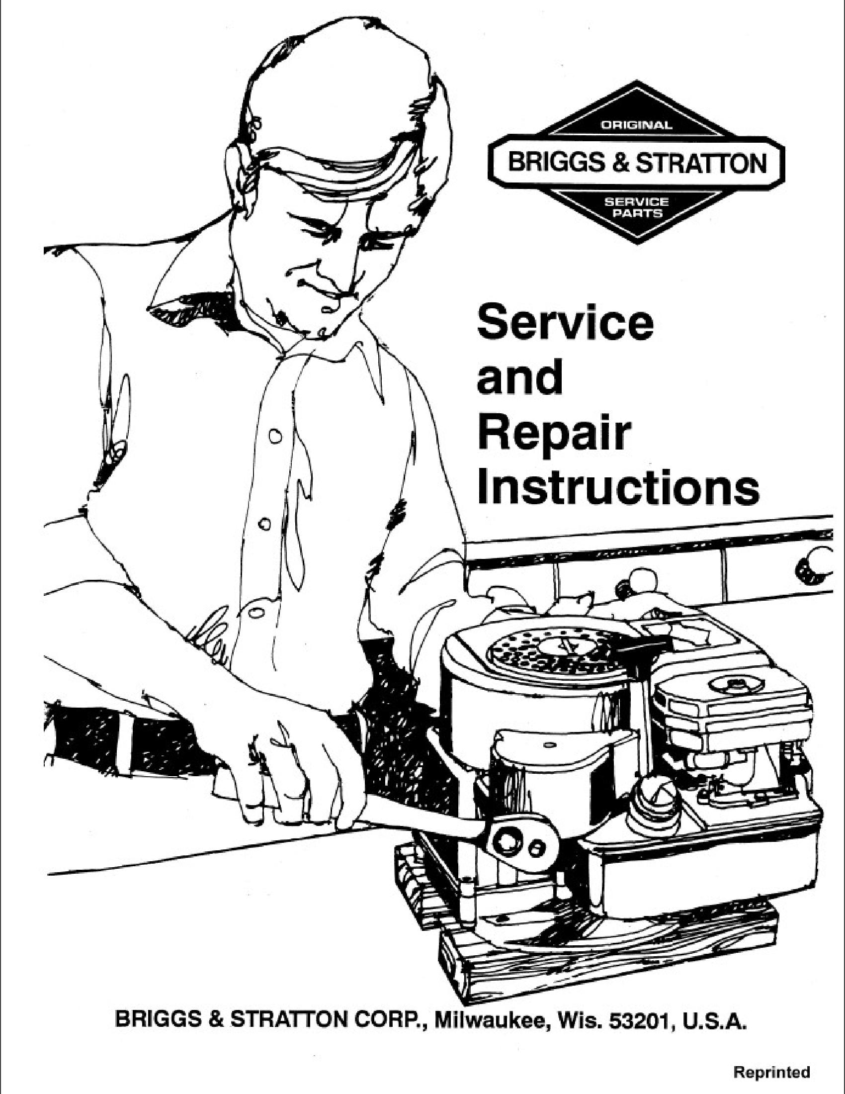 BRIGGS & STRATTON Service  Repair Instructions manual