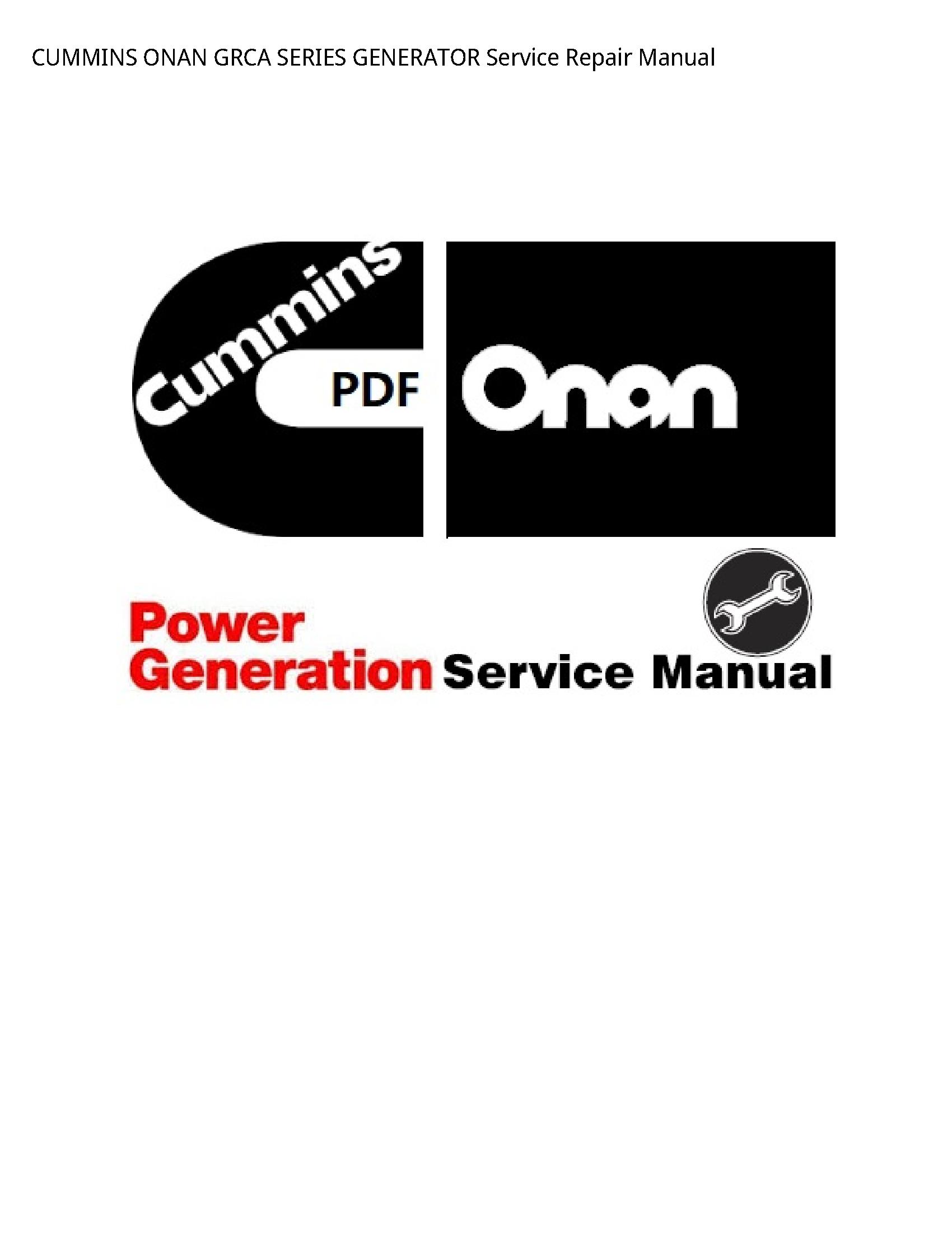 Onan GRCA SERIES GENERATOR manual
