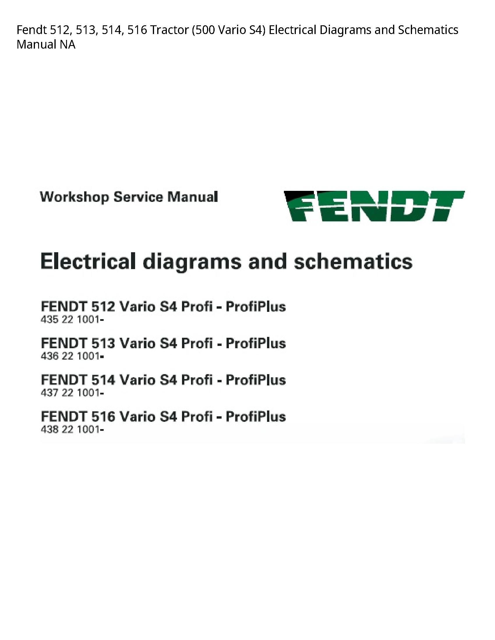 Fendt 512 Tractor Vario Electrical Diagrams  Schematics manual
