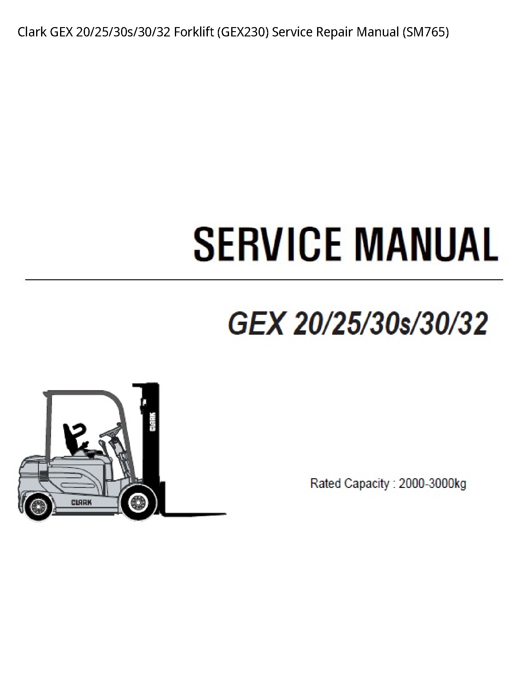 Clark 20 GEX Forklift manual
