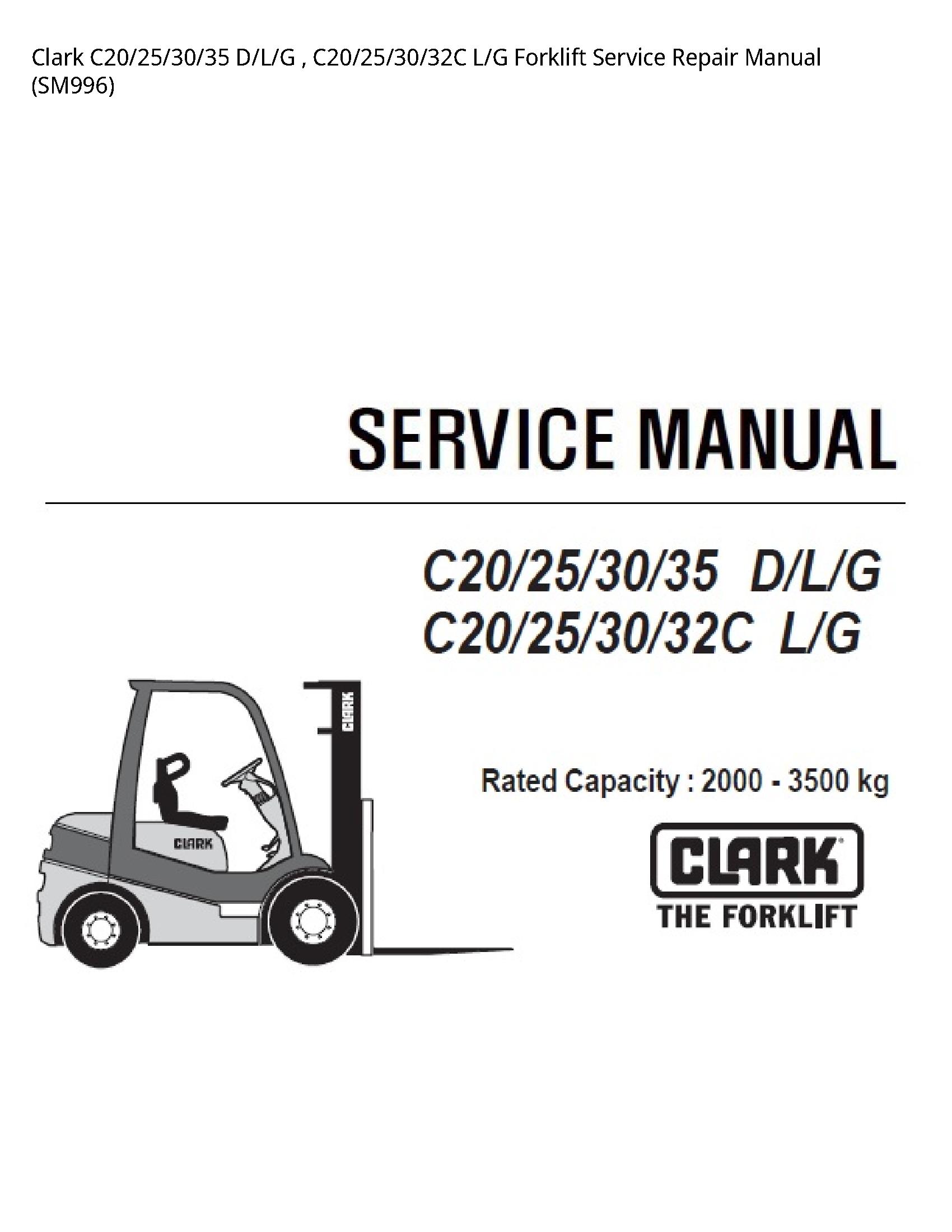 Clark C20 D/L/G L/G Forklift manual