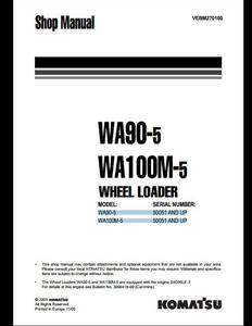 KOMATSU WA380-6 Wheel Loaders manual